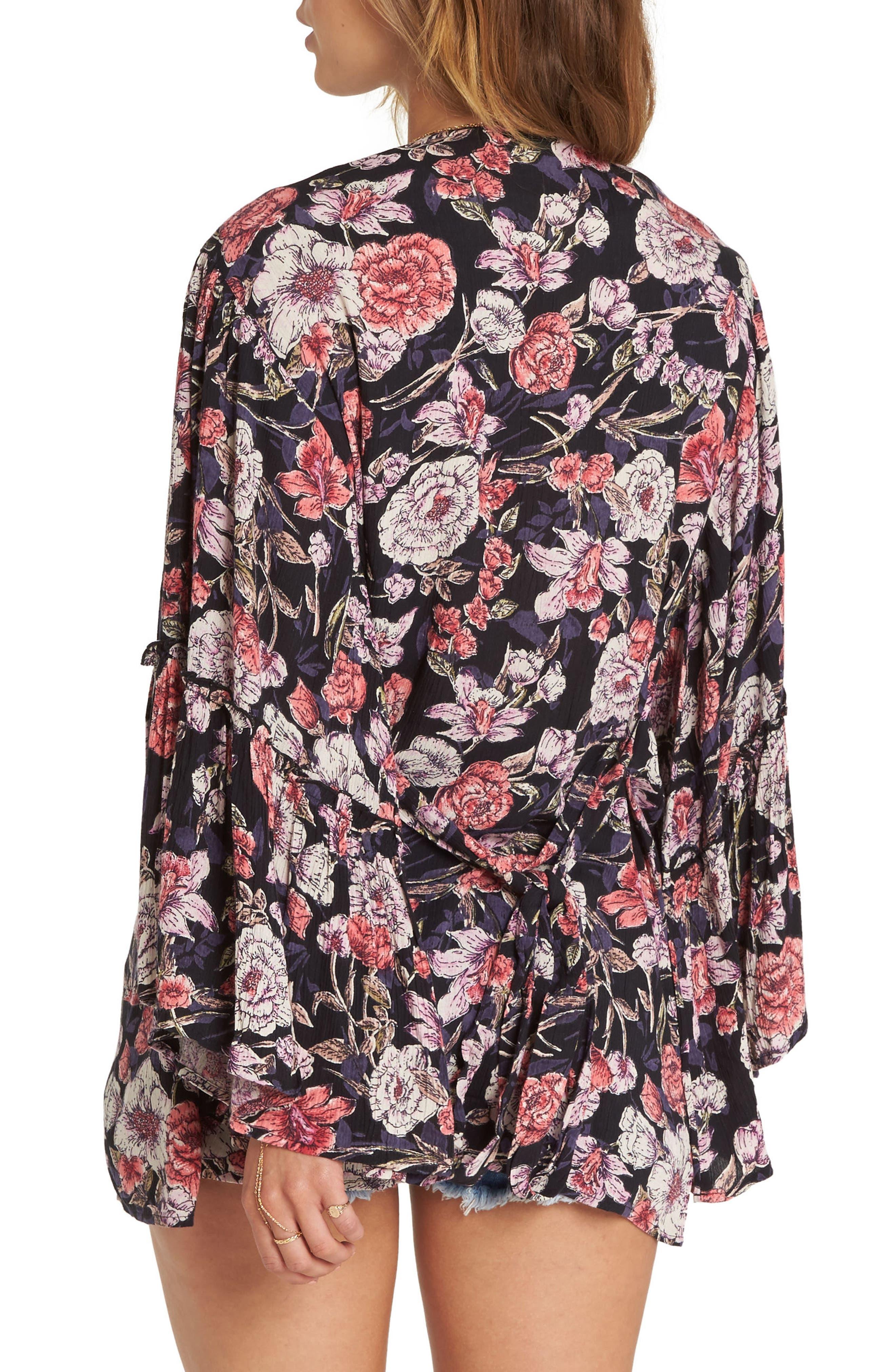 All Flored Floral Kimono,                             Alternate thumbnail 2, color,                             Black