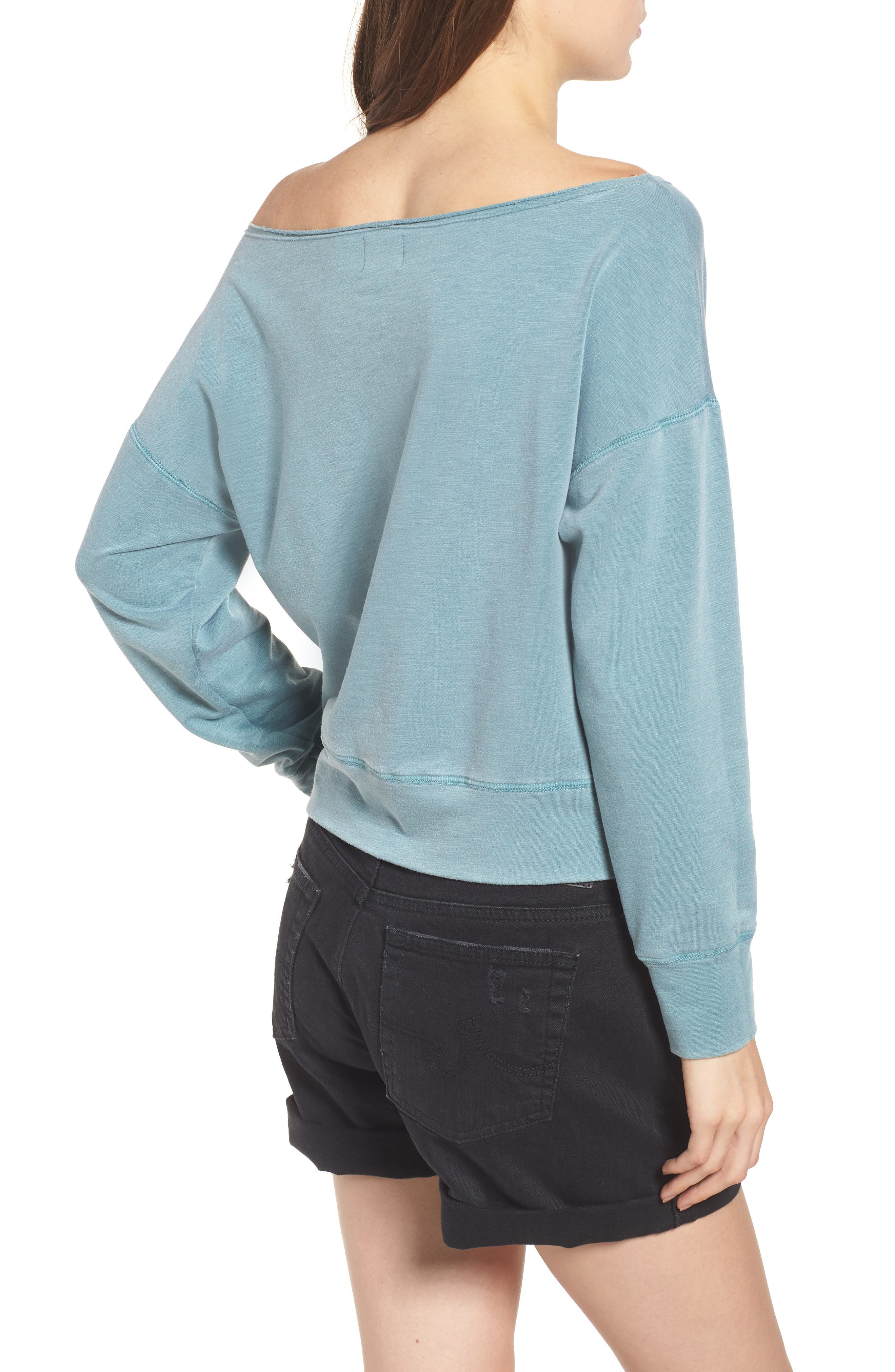 Off the Shoulder Sweatshirt,                             Alternate thumbnail 2, color,                             Pigment Basil