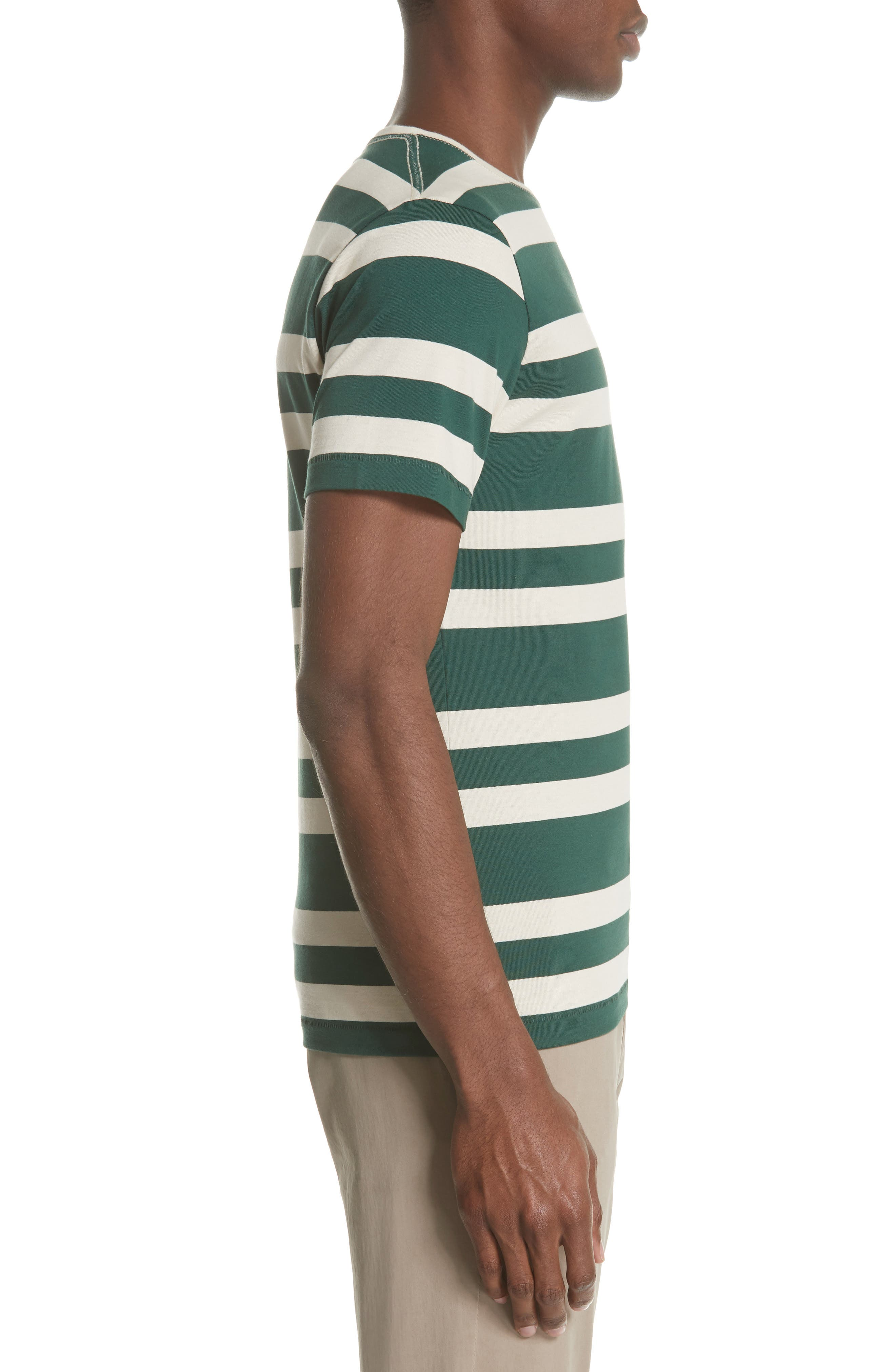 Crawley Stripe T-Shirt,                             Alternate thumbnail 3, color,                             Off White/ Pine Green