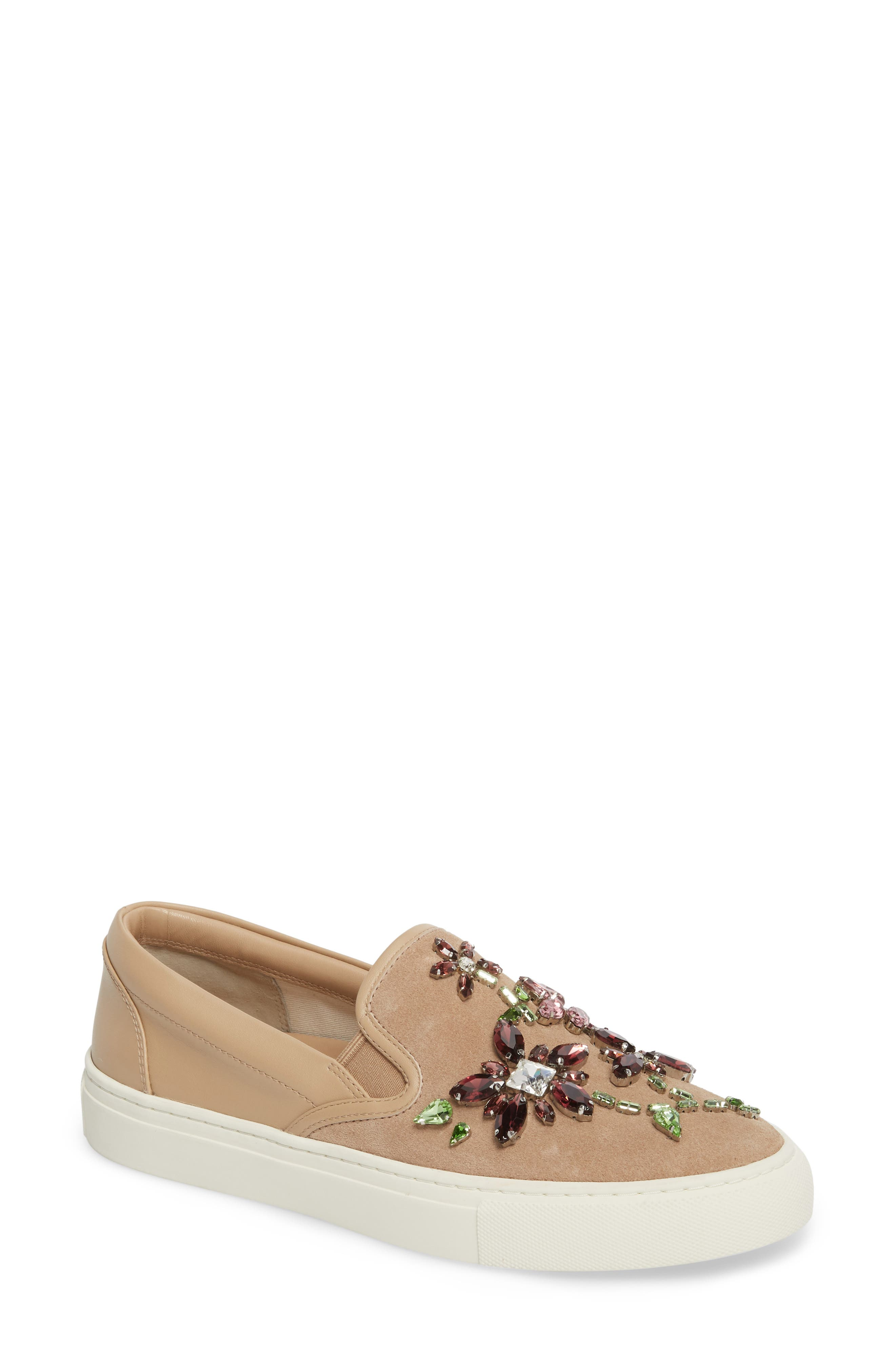 Meadow Embellished Slip-On Sneaker,                             Main thumbnail 1, color,                             Perfect Sand/ Multi