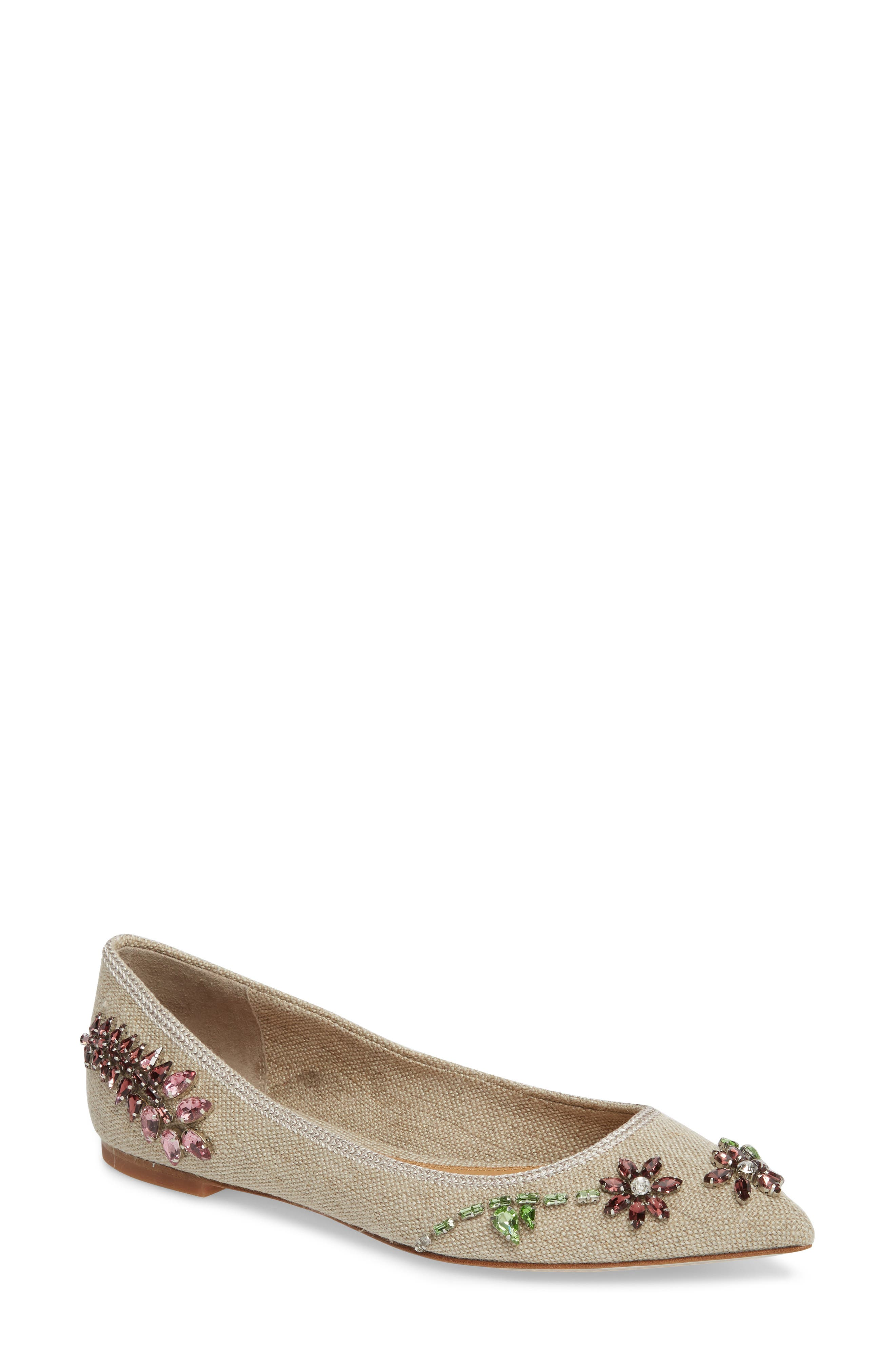 Meadow Embellished Pointy Toe Flat,                             Main thumbnail 1, color,                             Natural/ Multi Color