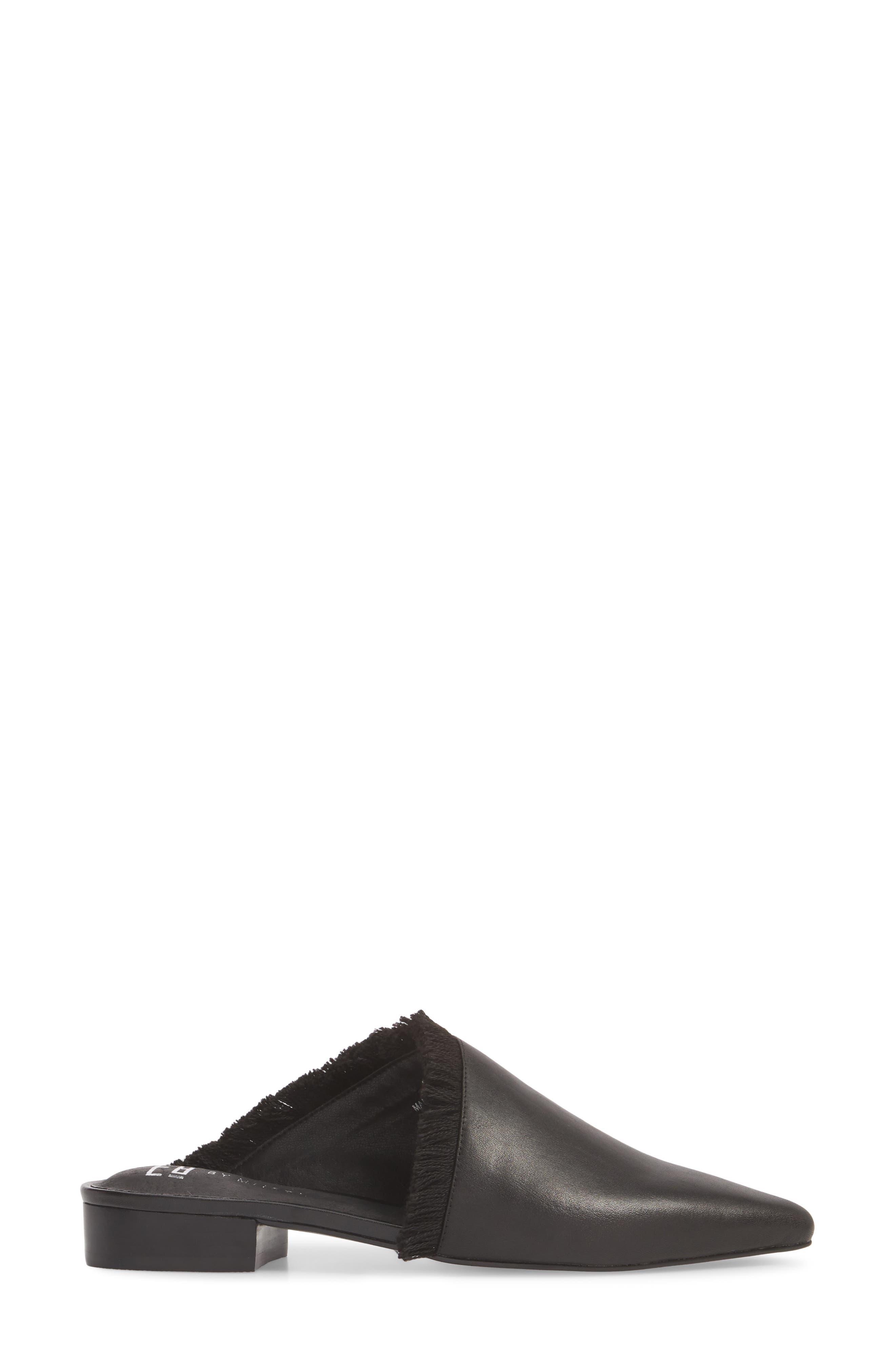 Leroy Asymmetrical Flat Mule,                             Alternate thumbnail 3, color,                             Black Leather