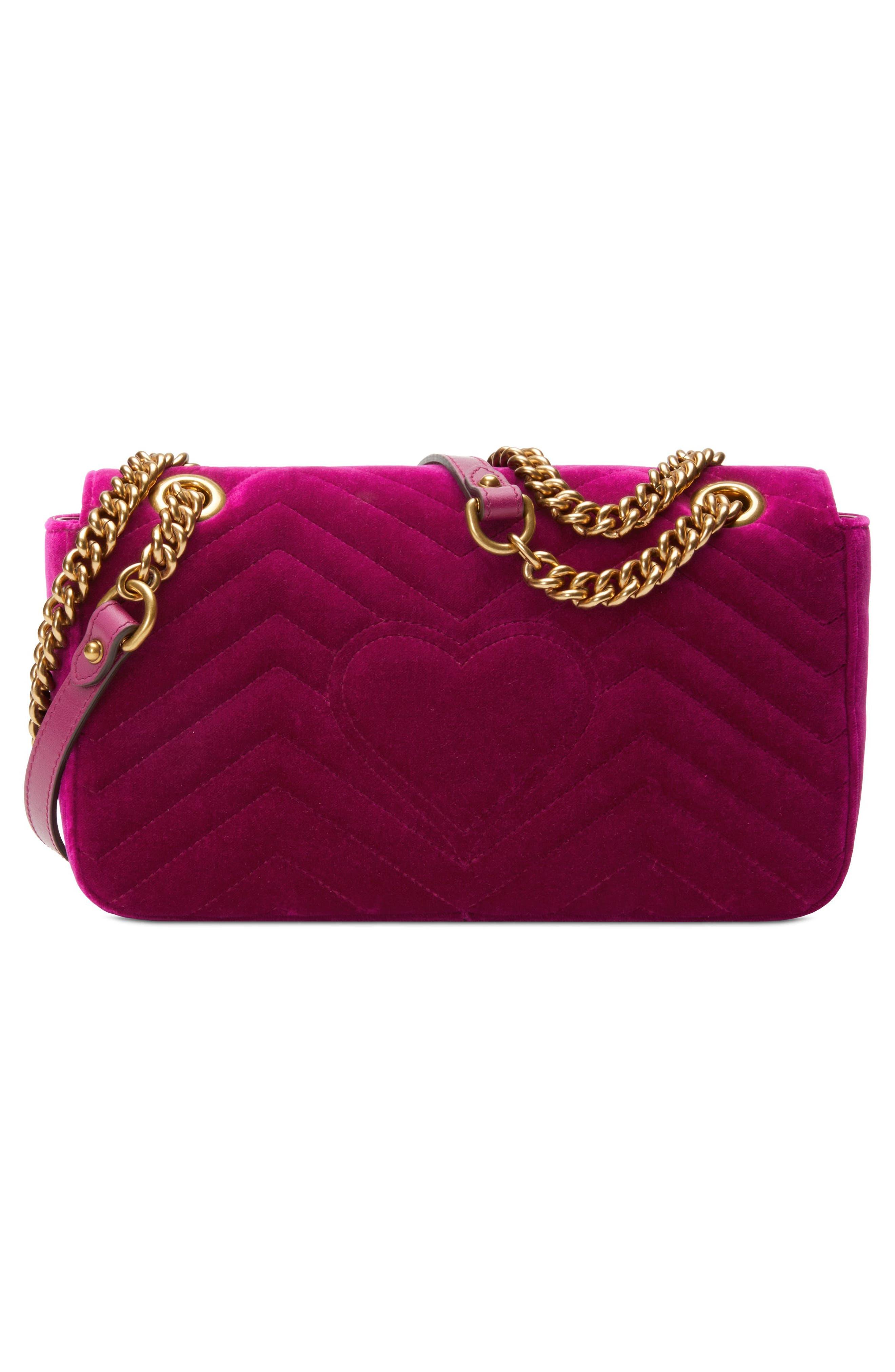 Small GG Marmont 2.0 Matelassé Velvet Shoulder Bag,                             Alternate thumbnail 2, color,                             Fuchsia/ Fuchsia