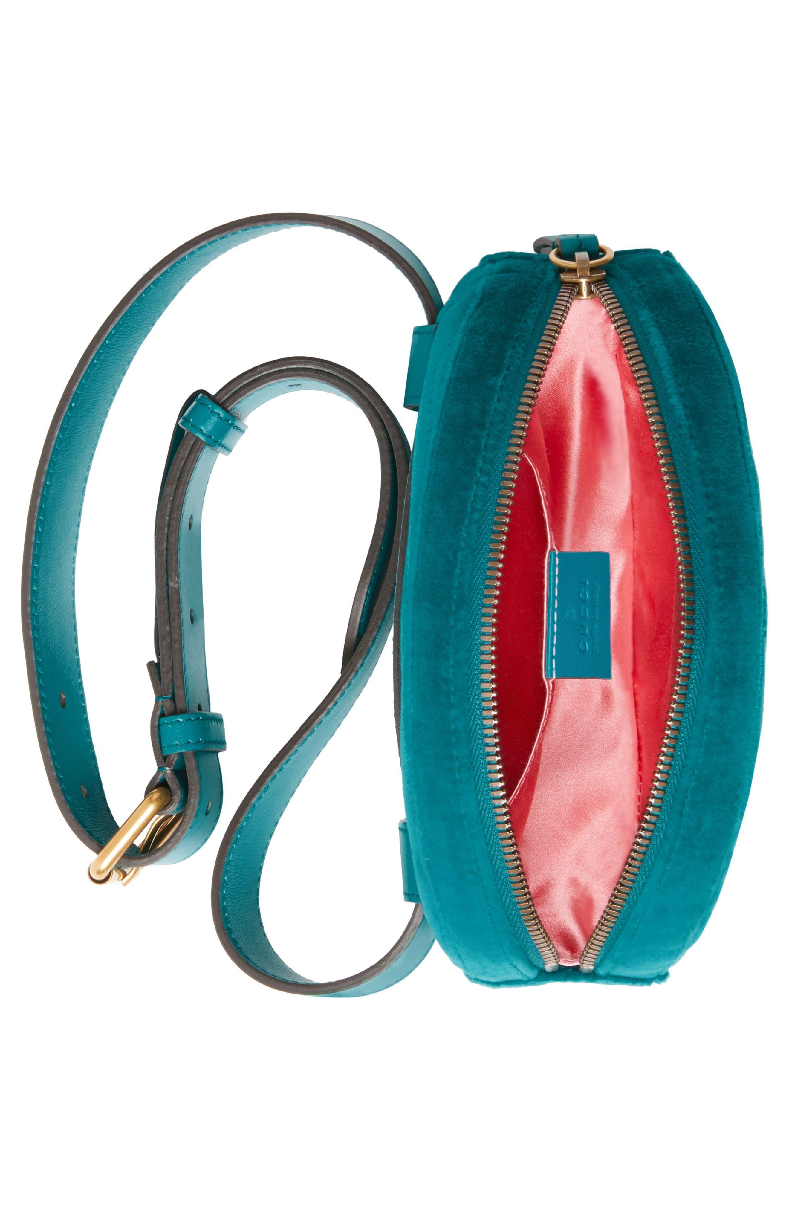 GG Marmont 2.0 Embroidered Velvet Belt Bag,                             Alternate thumbnail 3, color,                             Pavone/ Pavone/ Cyan Multi