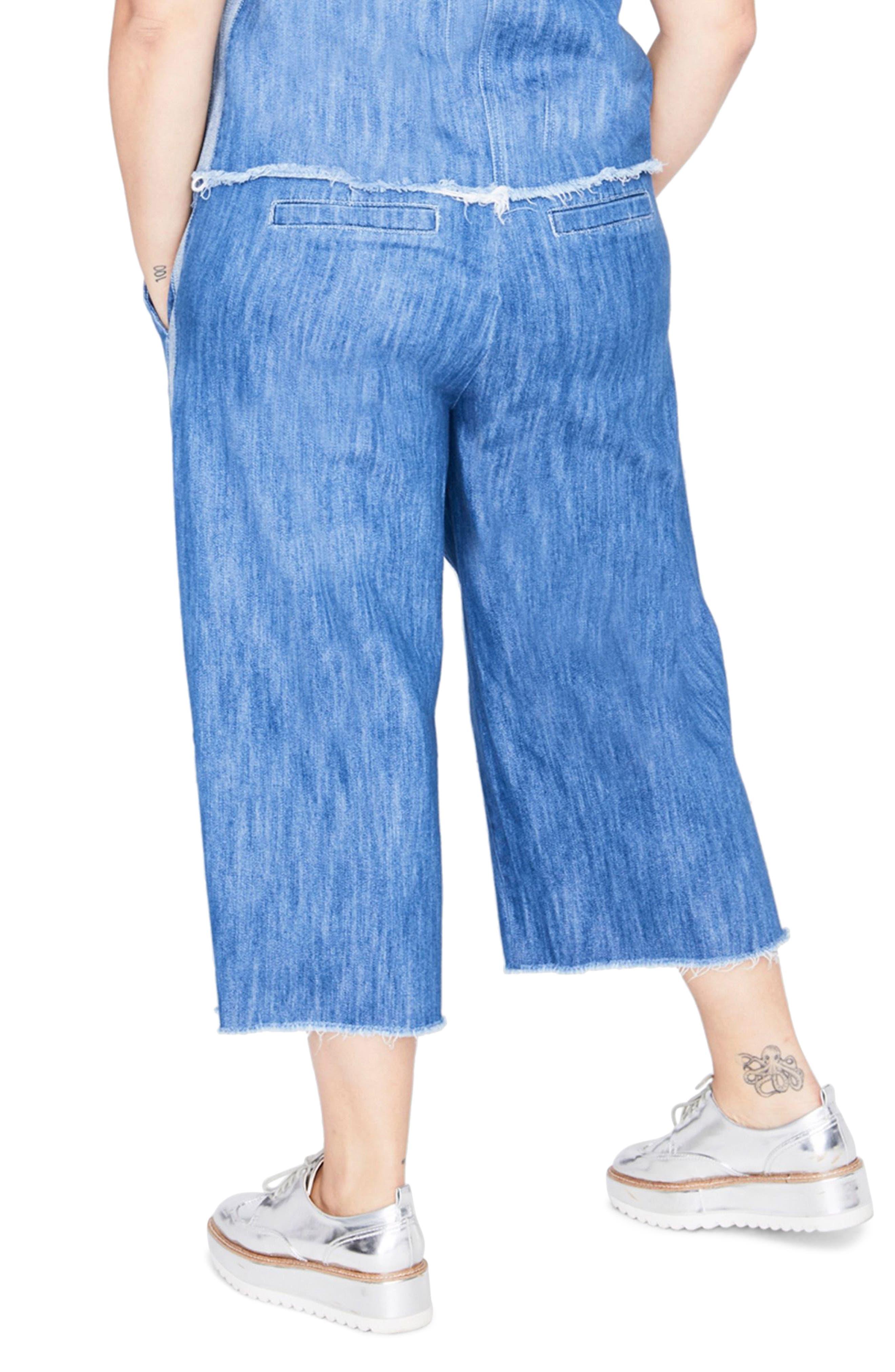 Stripe Wide Leg Crop Chambray Pants,                             Alternate thumbnail 2, color,                             Medium Wash