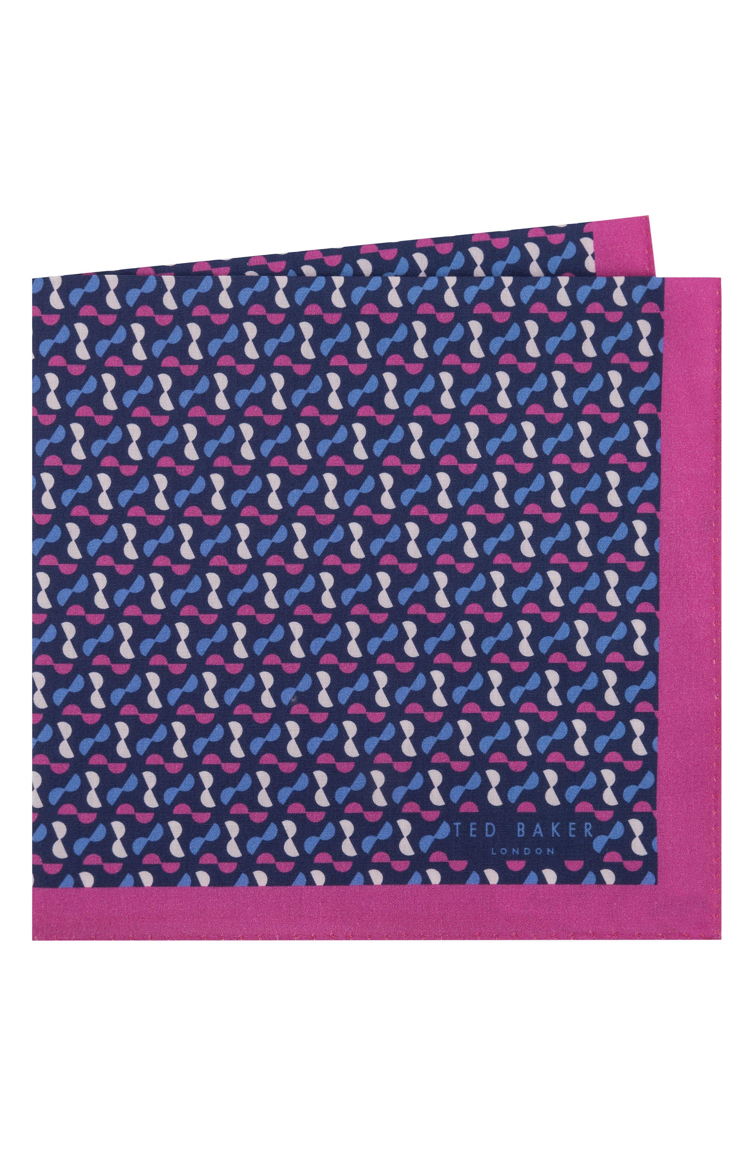 Geometric Cotton Pocket Square,                         Main,                         color, Pink