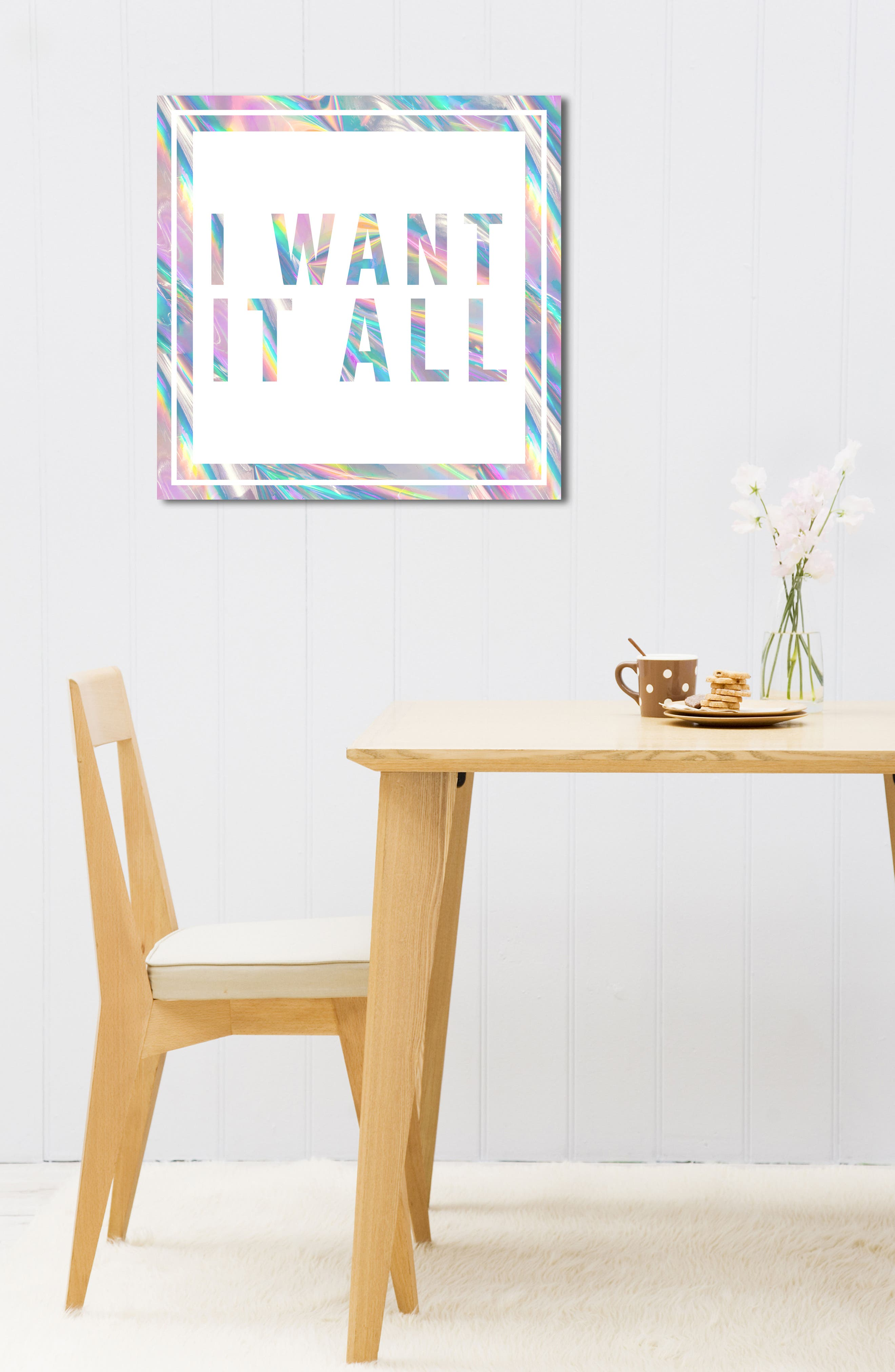 I Want It All Canvas Wall Art,                             Alternate thumbnail 3, color,                             White