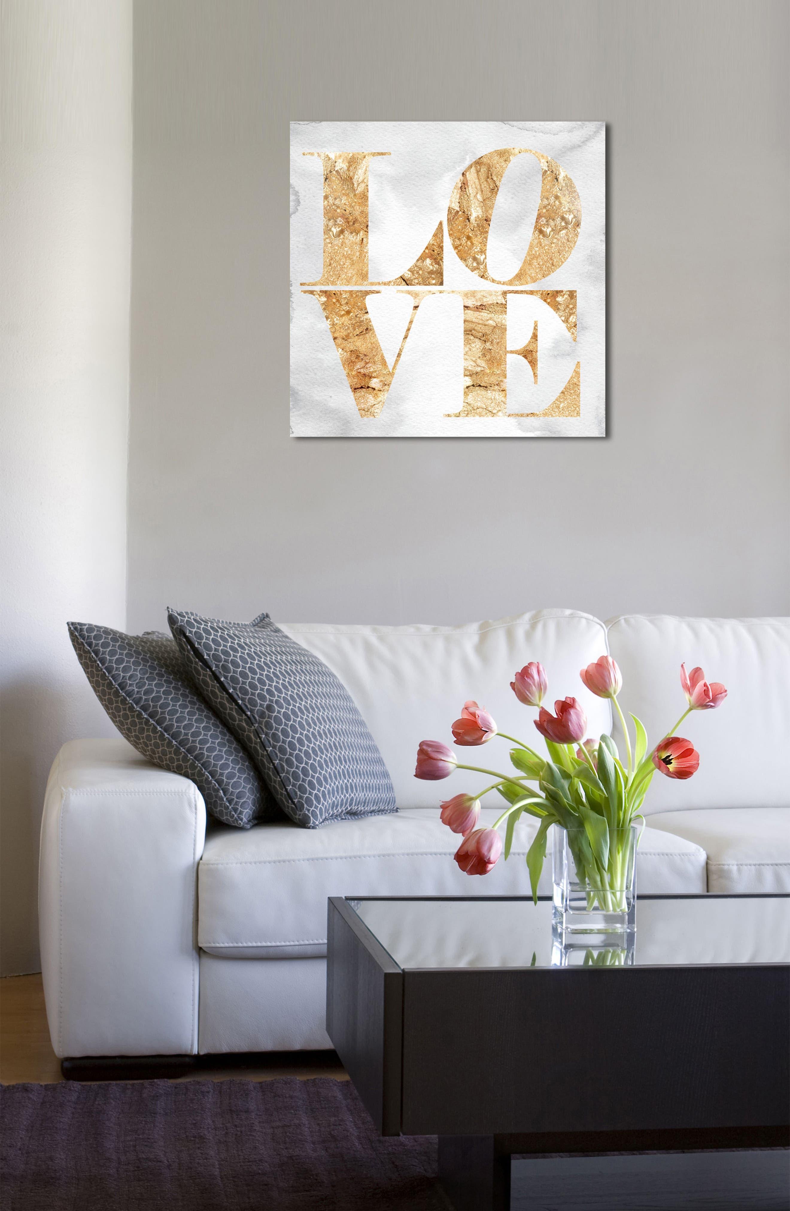 Love Canvas Wall Art,                             Alternate thumbnail 4, color,                             Gold