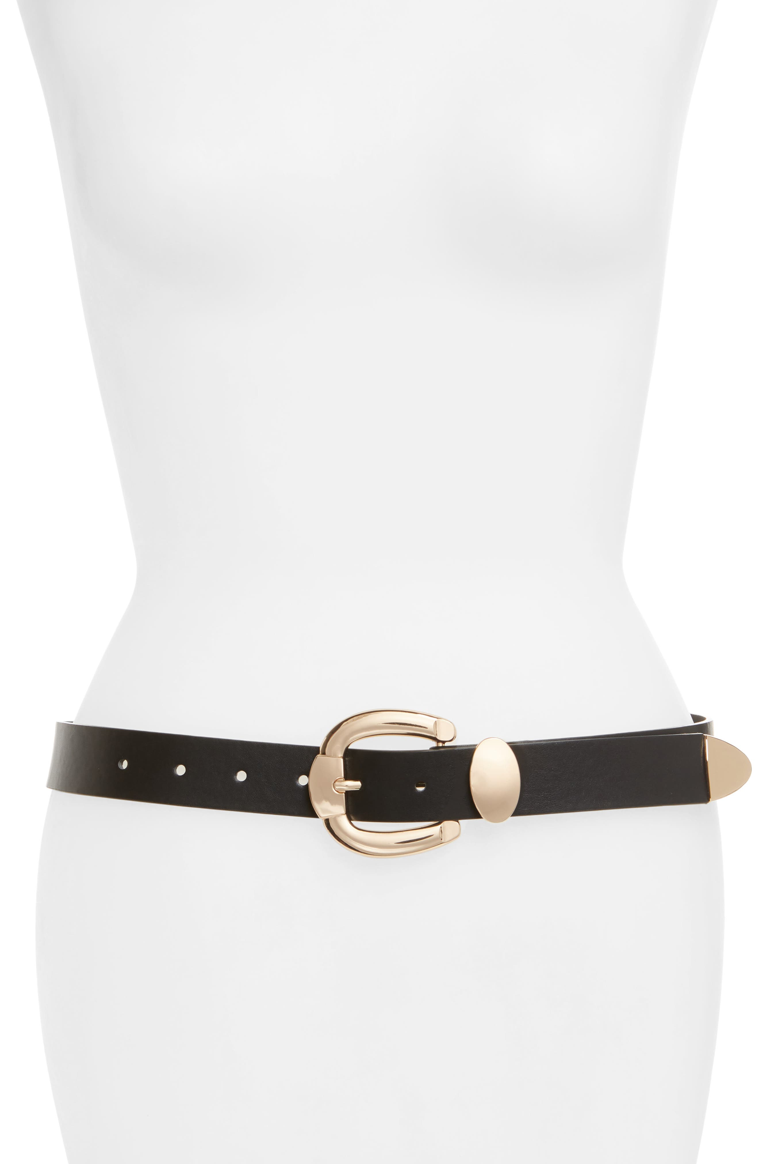 Bold Buckle Faux Leather Belt,                         Main,                         color, Black/ Gold