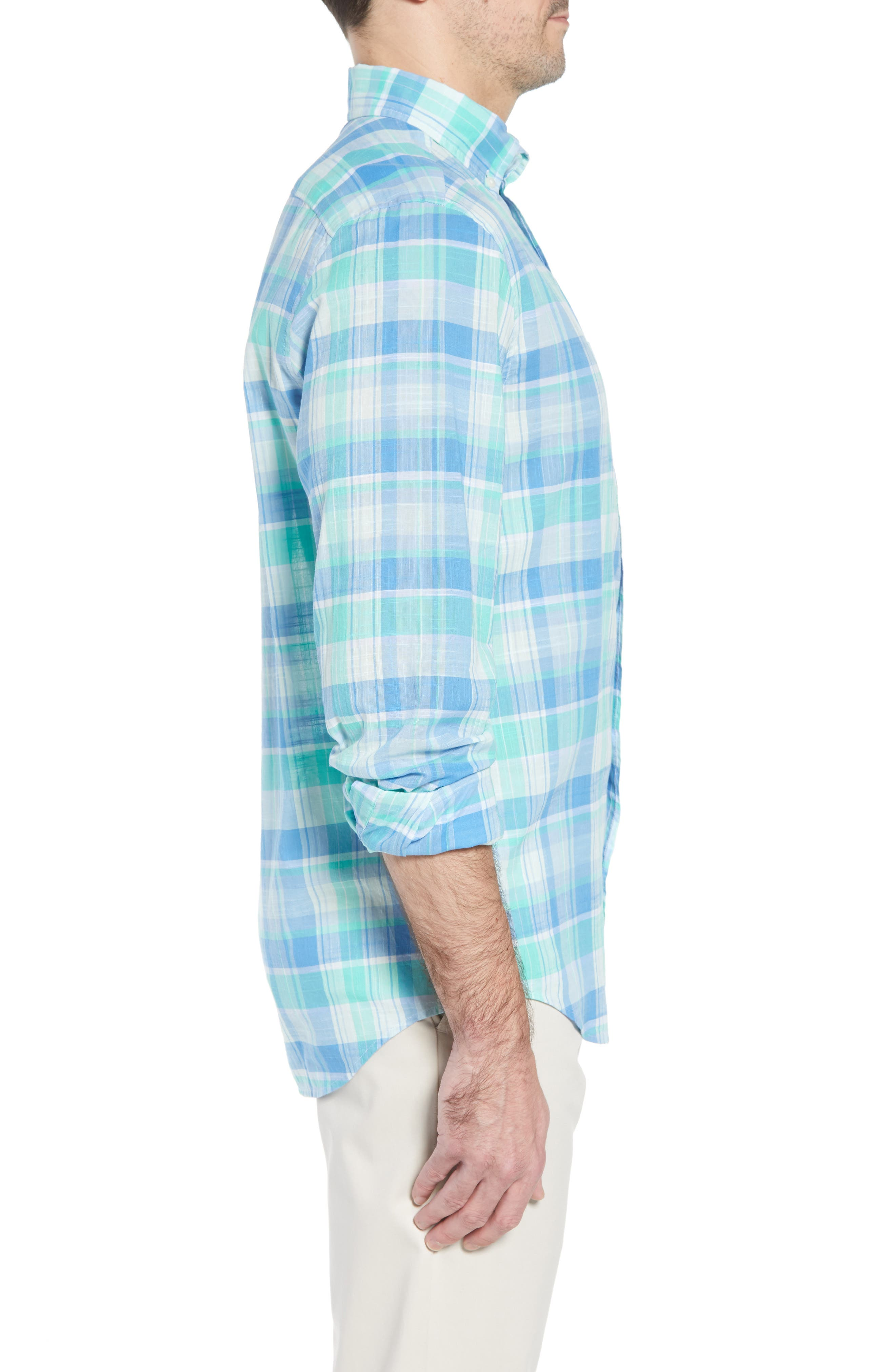 Homer Pond Murray Classic Fit Plaid Sport Shirt,                             Alternate thumbnail 4, color,                             Antigua Green
