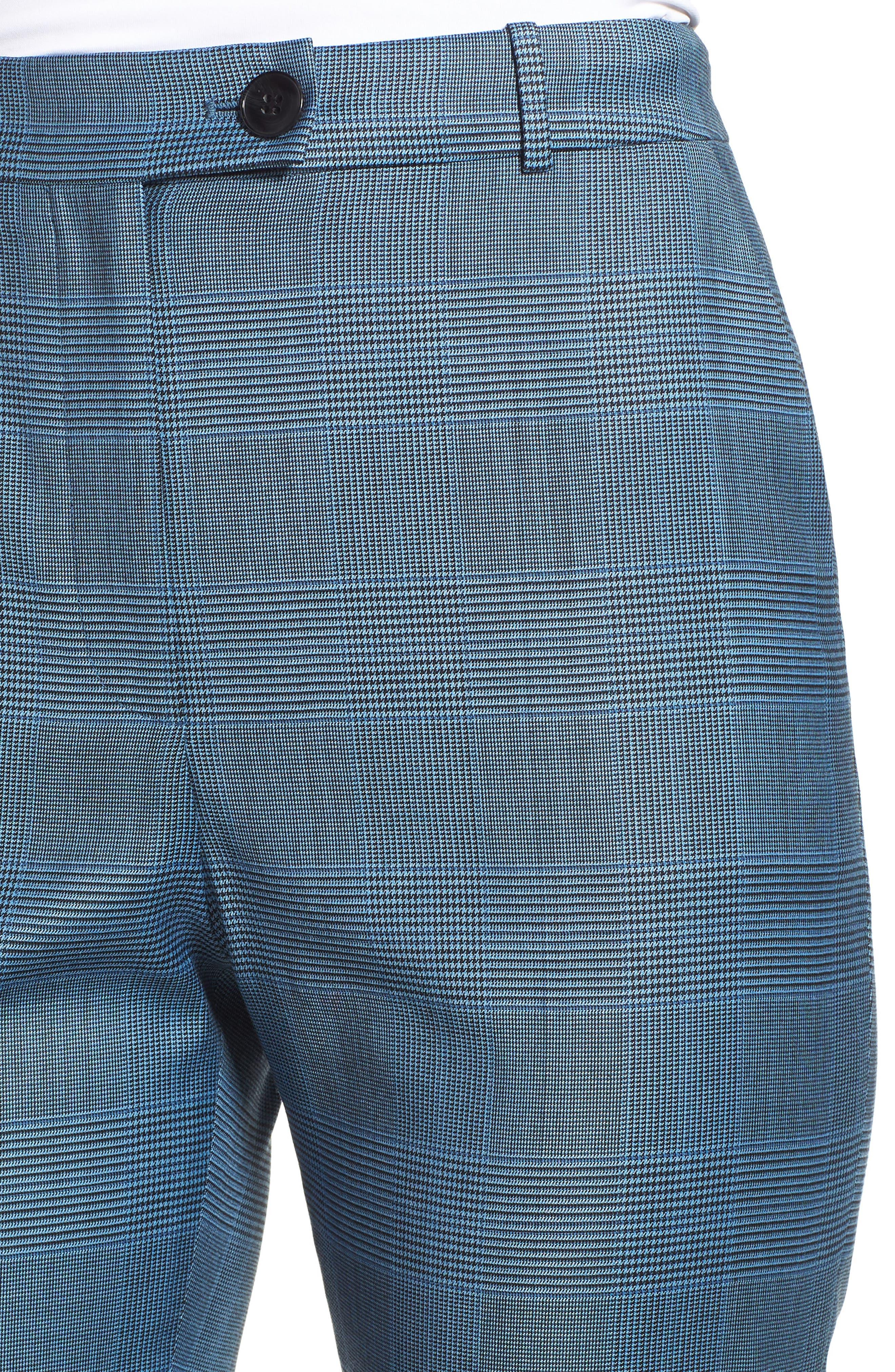 Tofilia Glencheck Slim Fit Trousers,                             Alternate thumbnail 4, color,                             Sailor Blue Fantasy