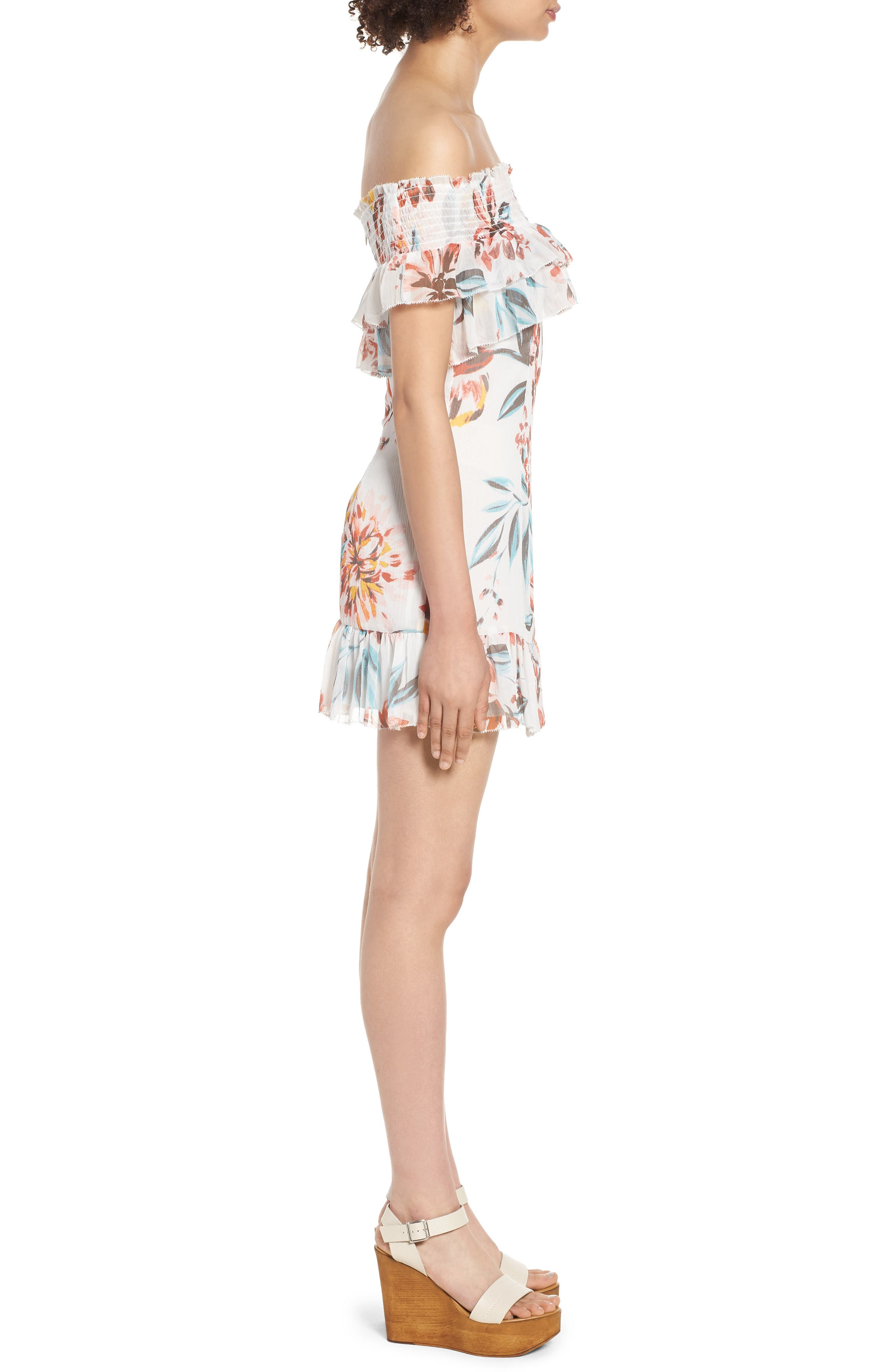 Lanzo Off the Shoulder Dress,                             Alternate thumbnail 3, color,                             Dahlia Floral