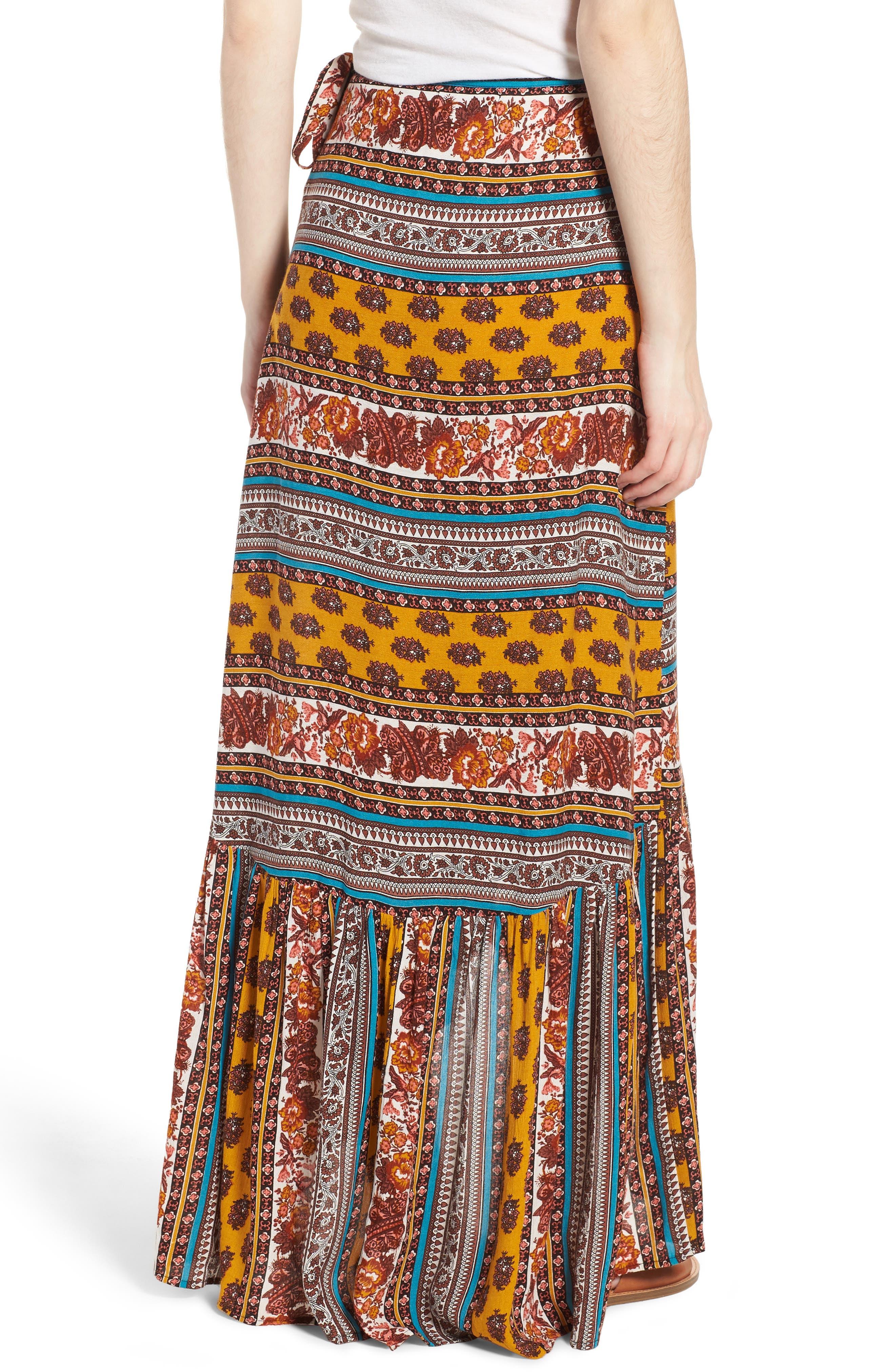 Geo Stripe Wrap Skirt,                             Alternate thumbnail 2, color,                             Gold/ Teal