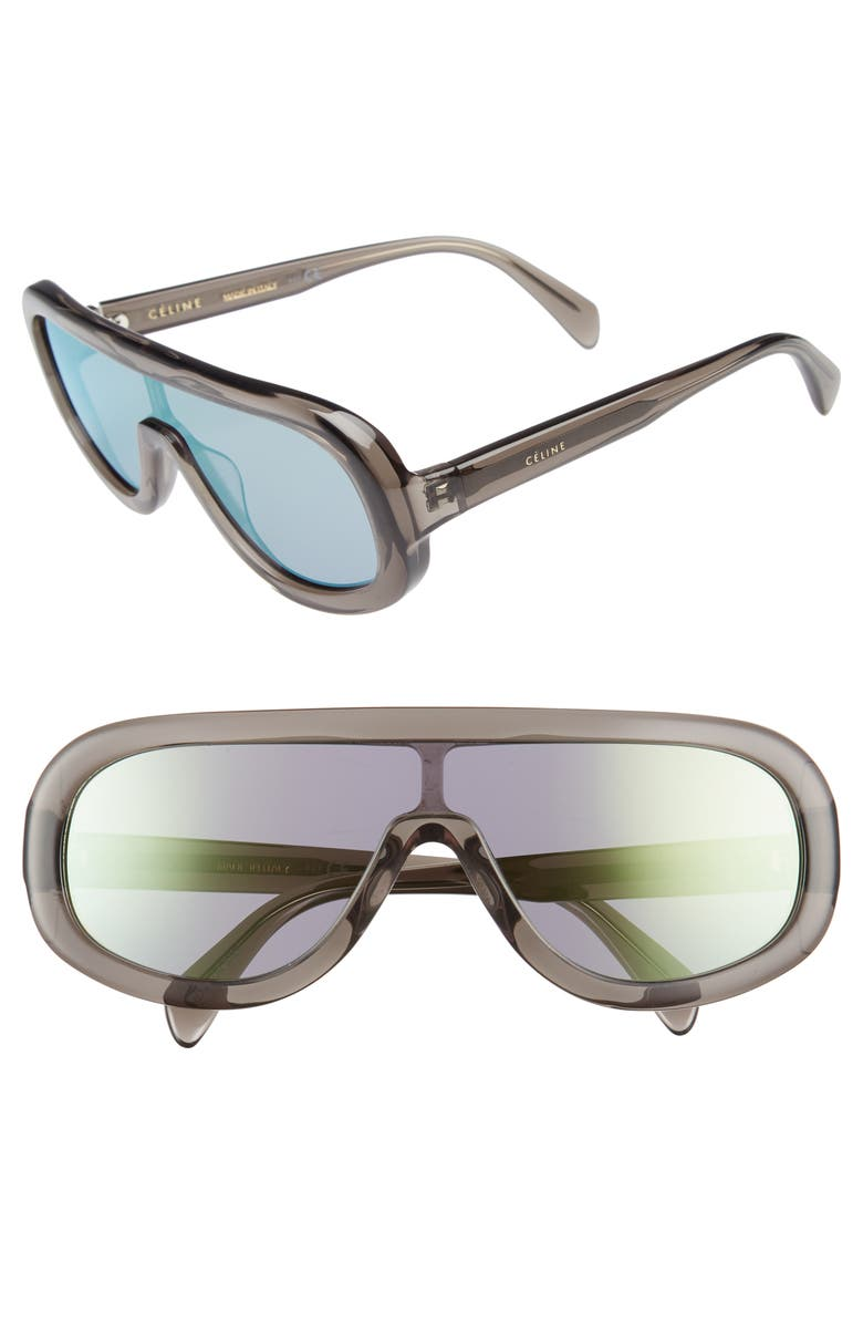 bac9996704 ... Celine Flat Top Shield Sunglasses Transparent Grey Gold Mirror