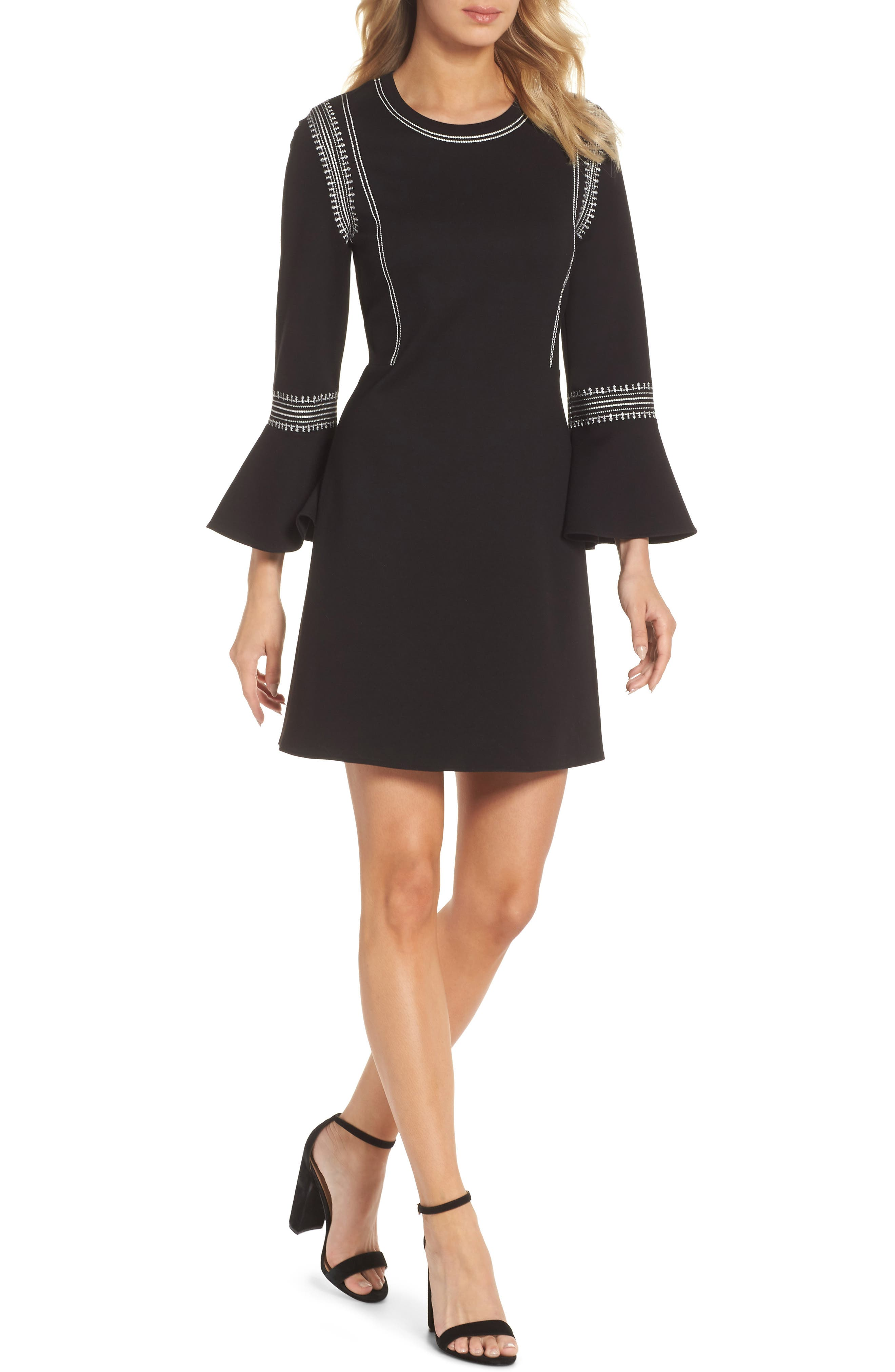 Danielle Embroidered Bell Sleeve Knit Dress,                             Main thumbnail 1, color,                             Black