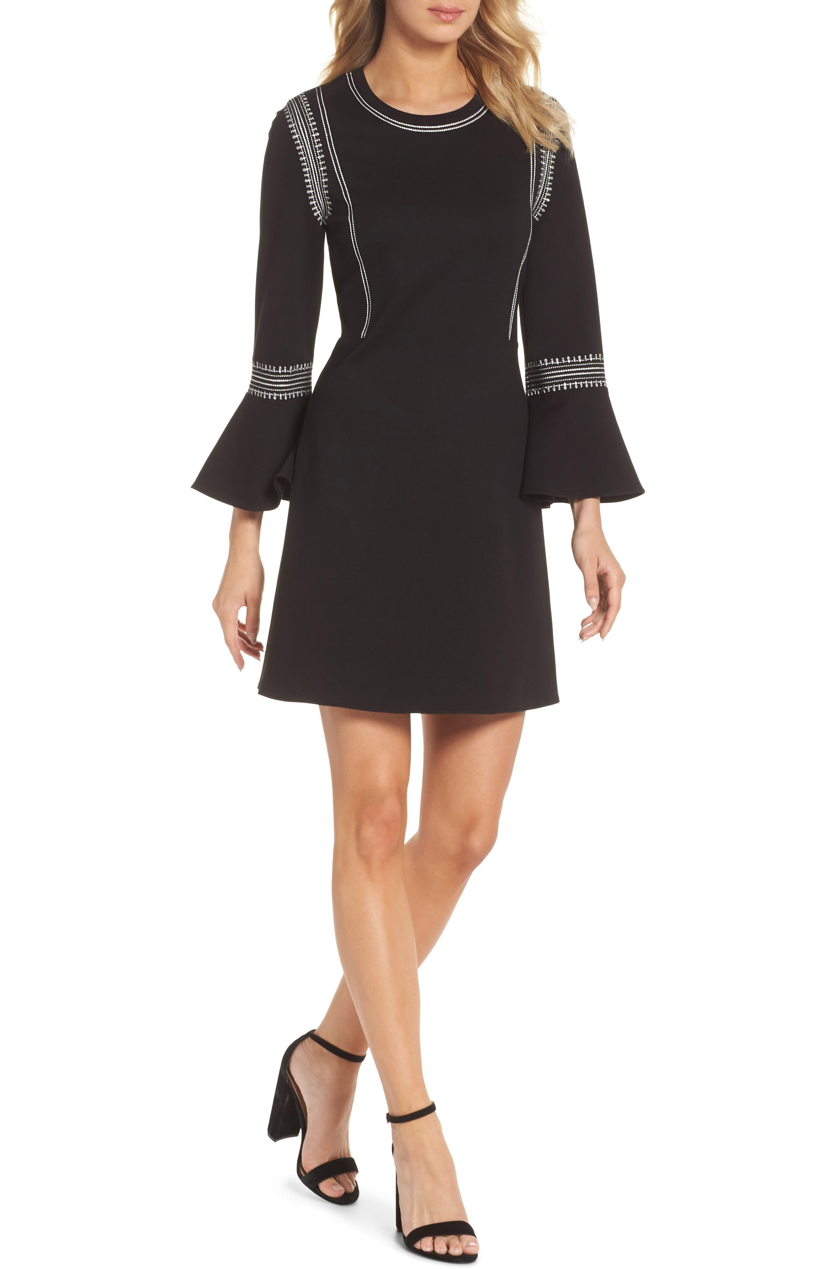 Kobi Halperin Danielle Embroidered Bell Sleeve Knit Dress
