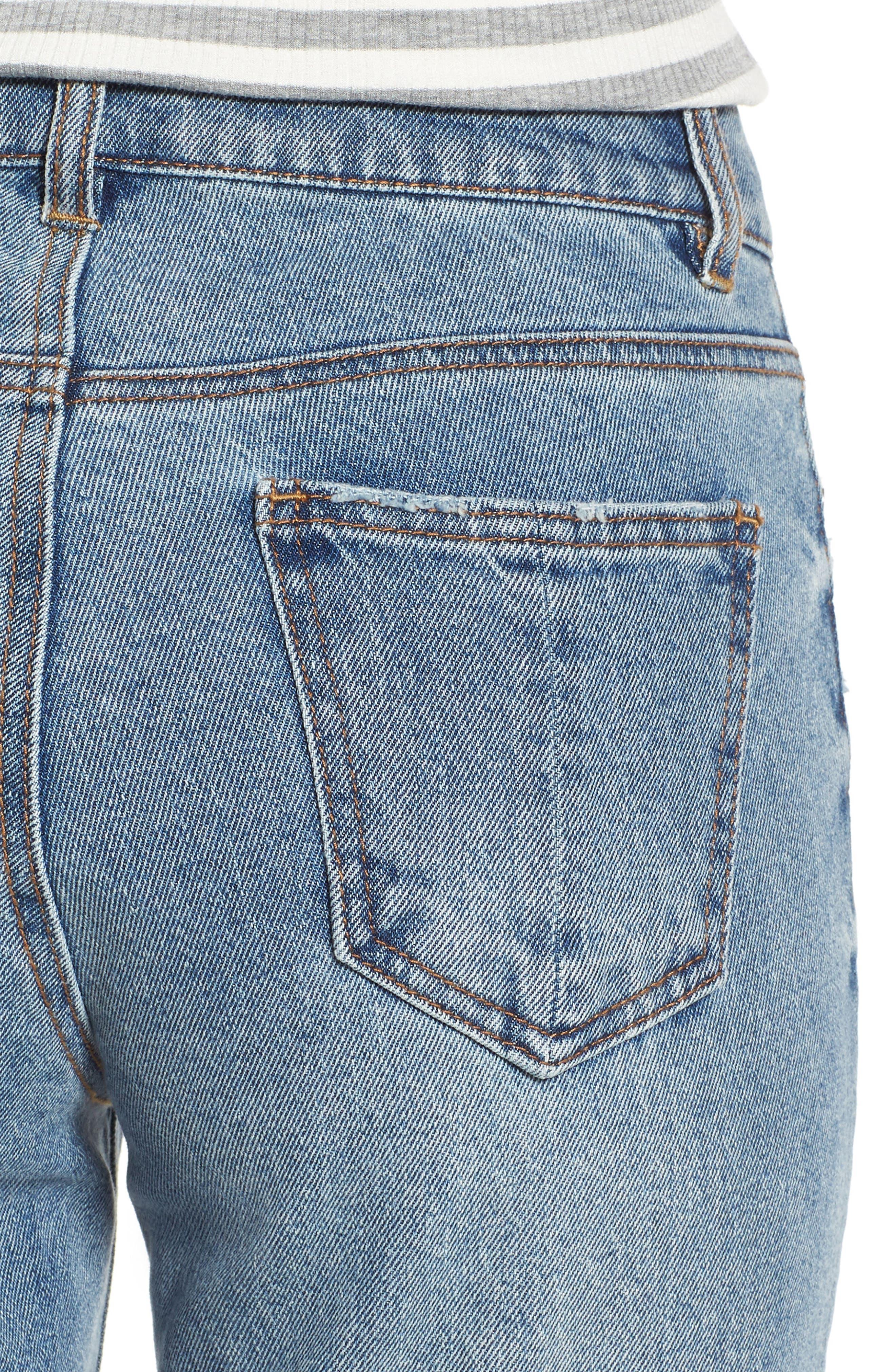 High Waist Skinny Jeans,                             Alternate thumbnail 4, color,                             Medium