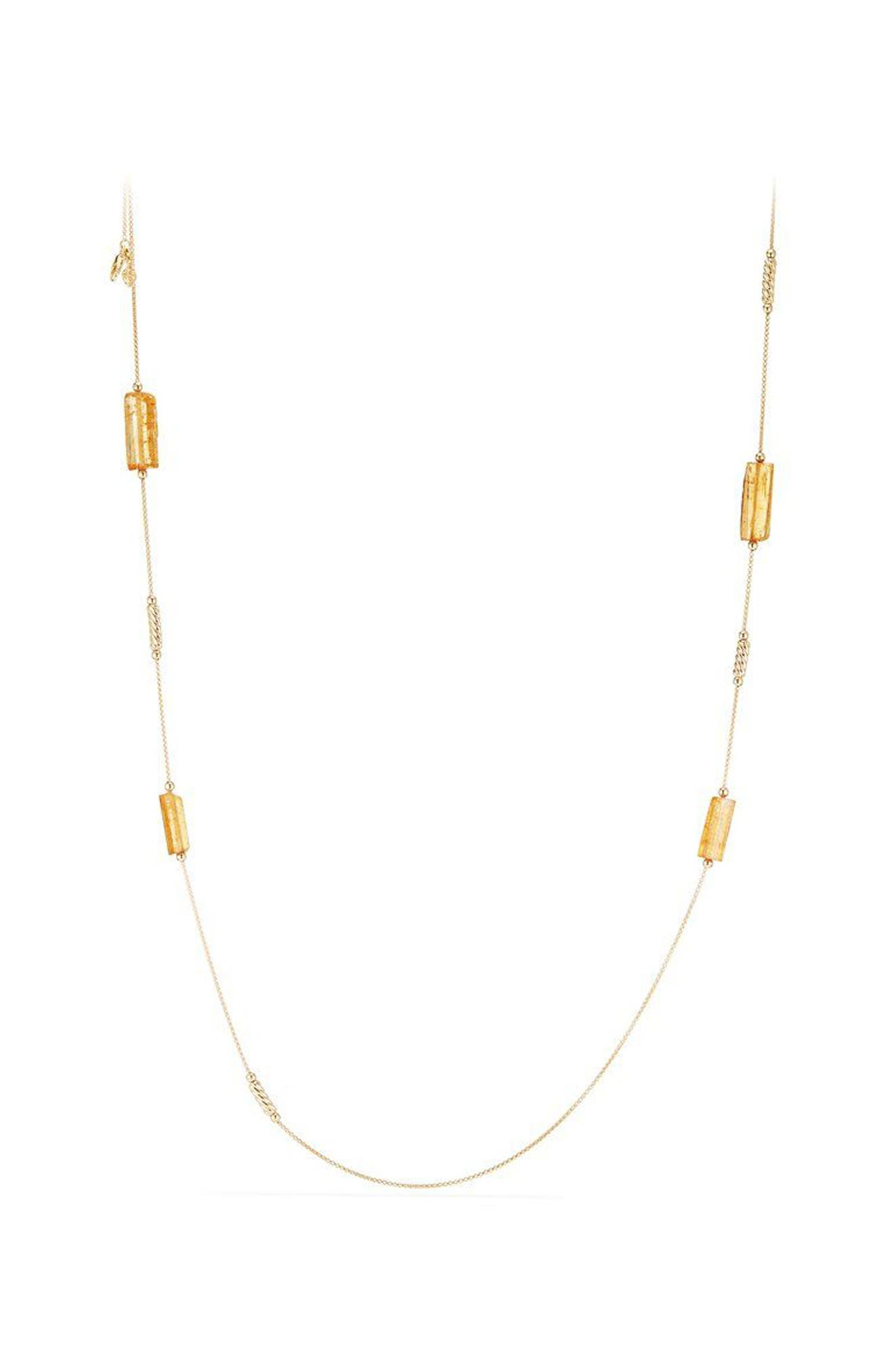 Fine Bead Imperial Topaz Chain Necklace,                             Main thumbnail 1, color,                             Gold/ Imperial Topaz