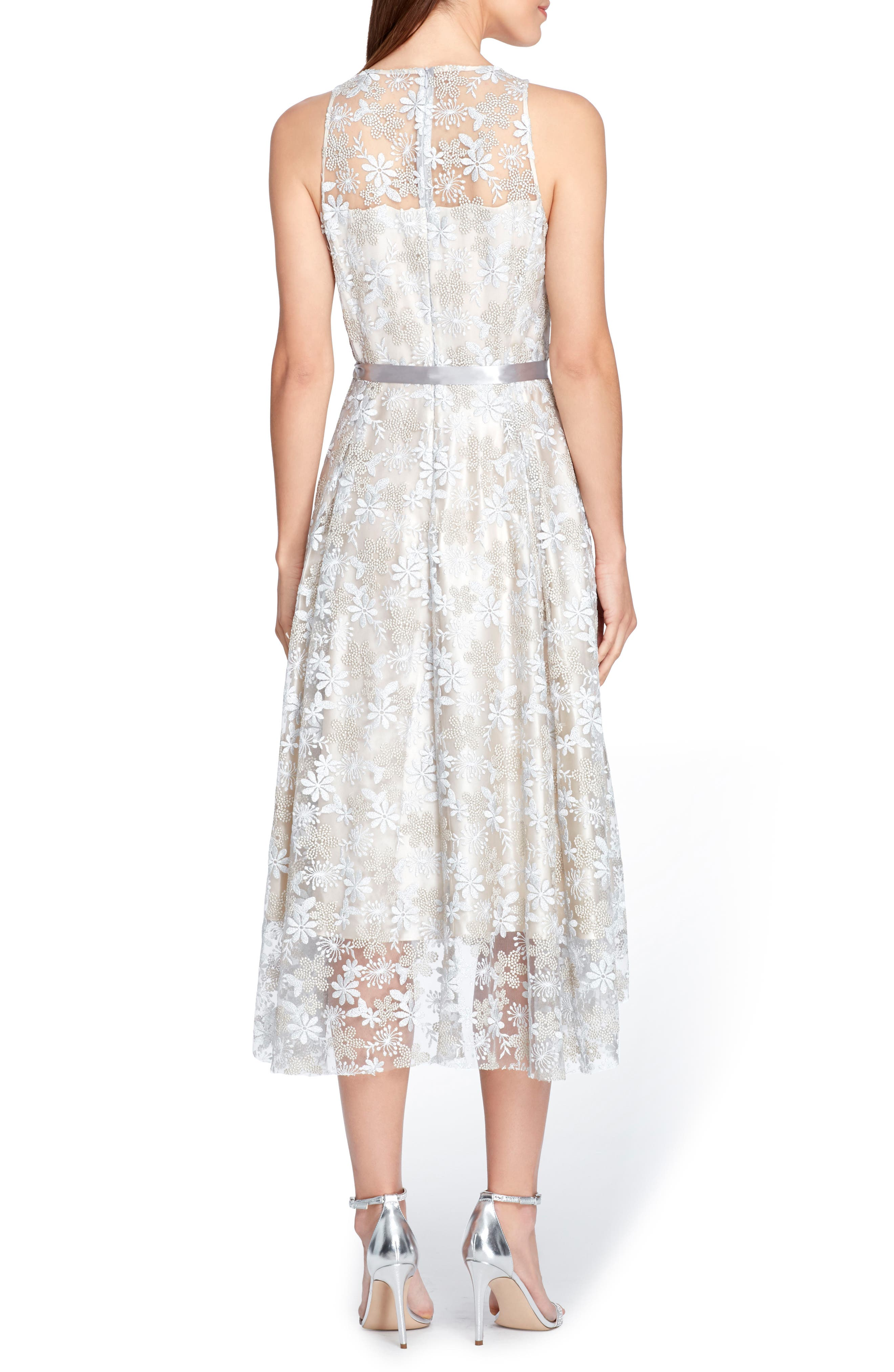 Sleeveless Embroidered Midi Dress,                             Alternate thumbnail 2, color,                             Silver/ Champagne