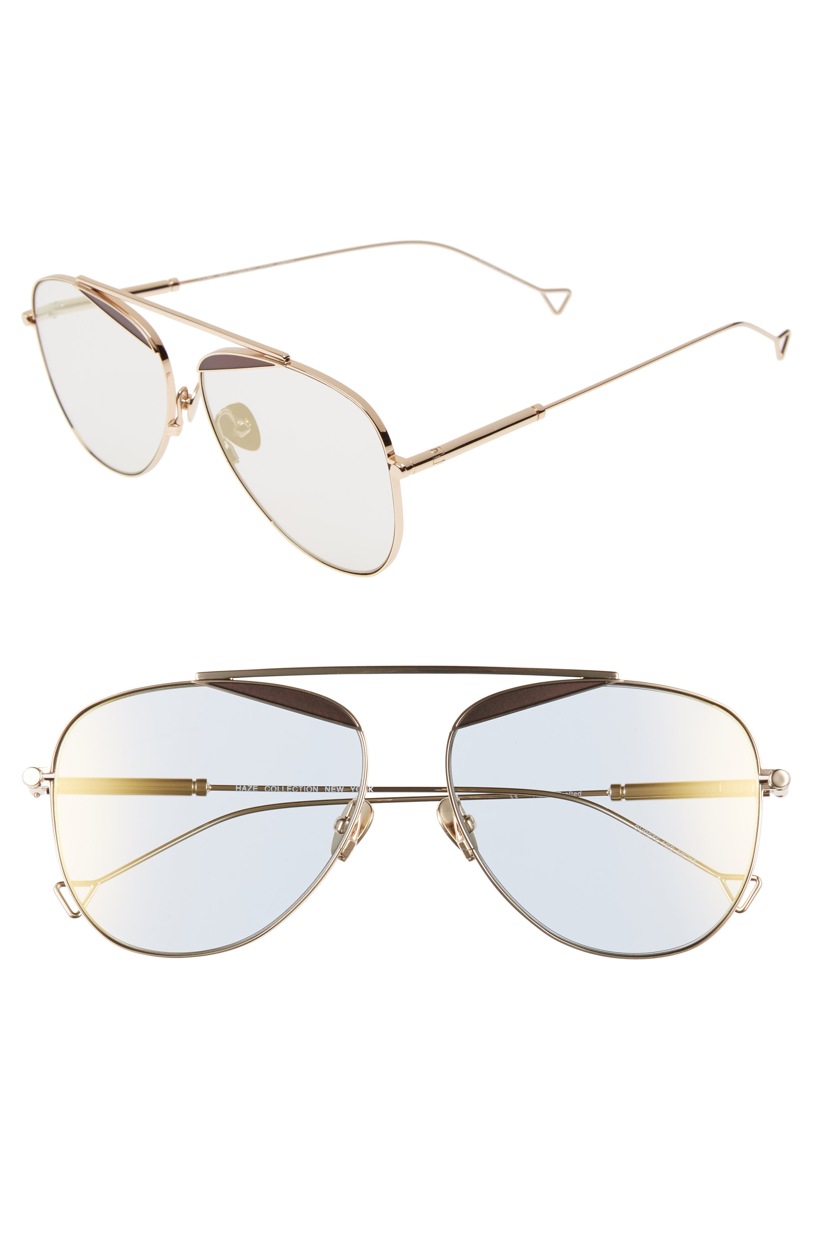 The Durete 58mm Aviator Sunglasses,                             Main thumbnail 1, color,                             Golden