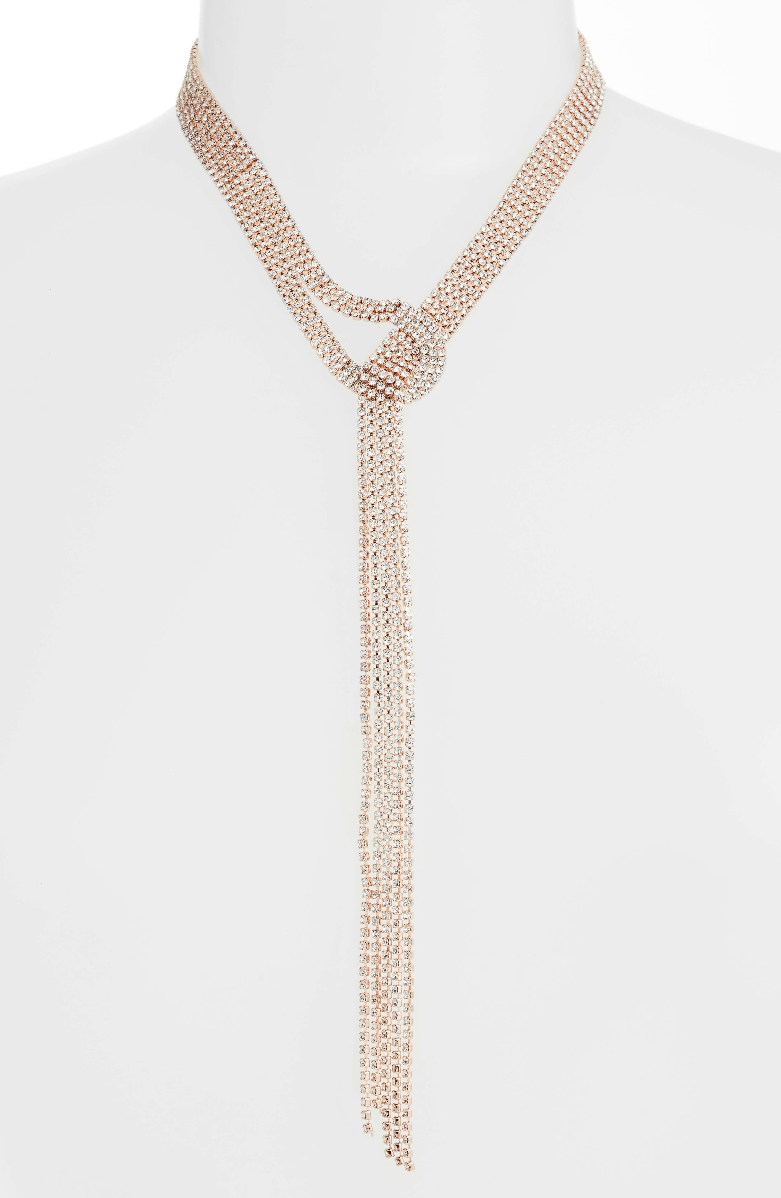 Ring Post Multistrand Lariat Necklace,                         Main,                         color, Crystal/ Rose Gold