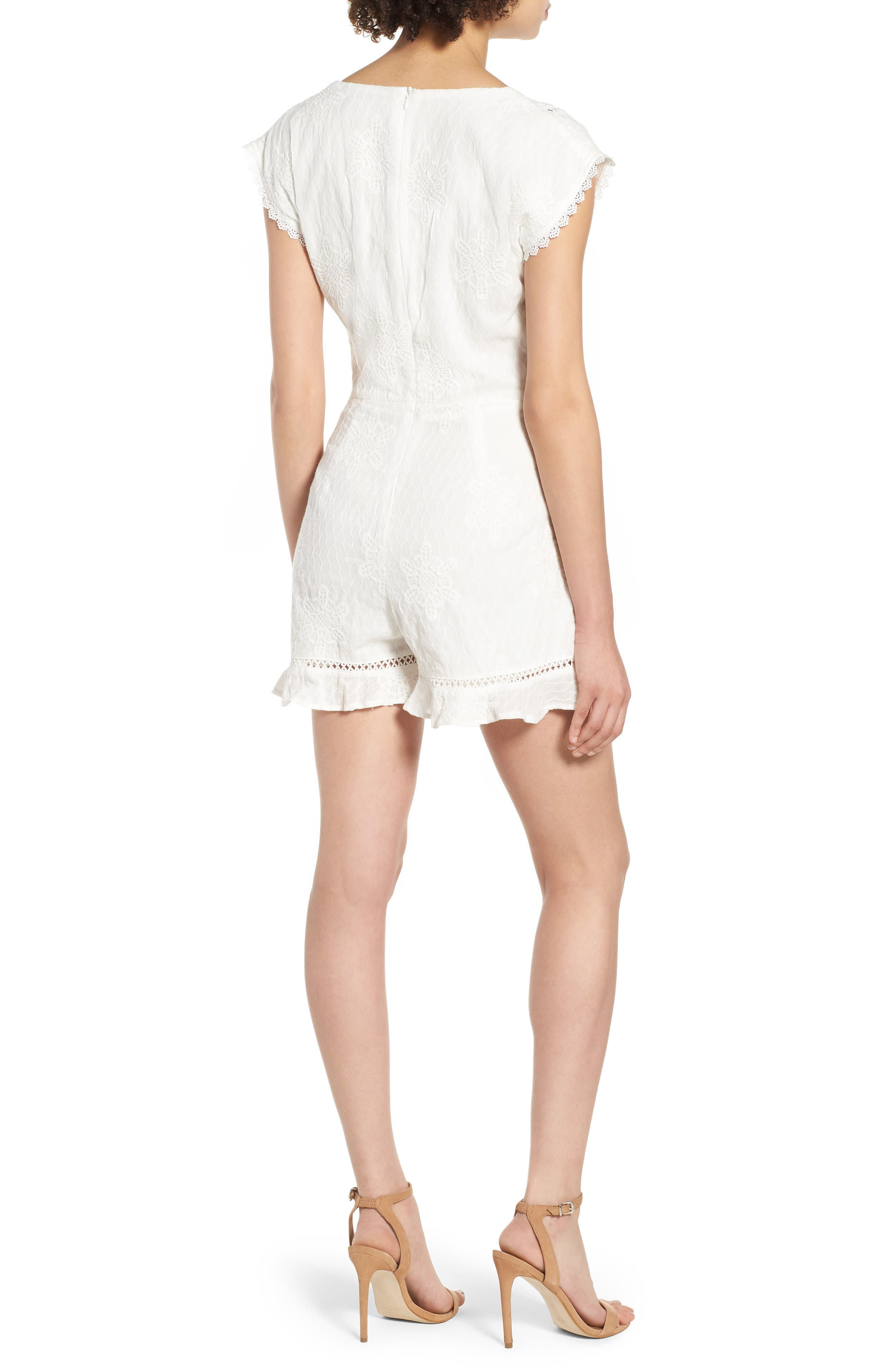 Tie Front Embroidered Romper,                             Alternate thumbnail 2, color,                             White