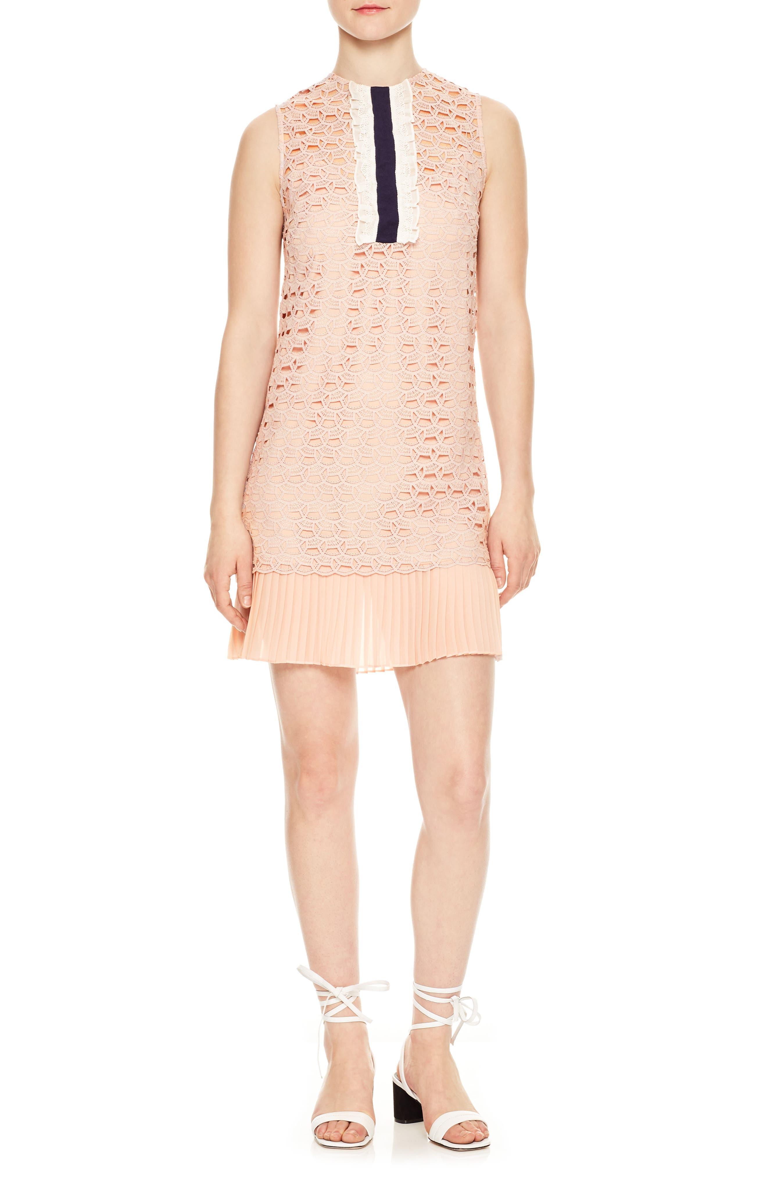 Lace Accordion Pleat Trim Dress,                             Main thumbnail 1, color,                             Poudre