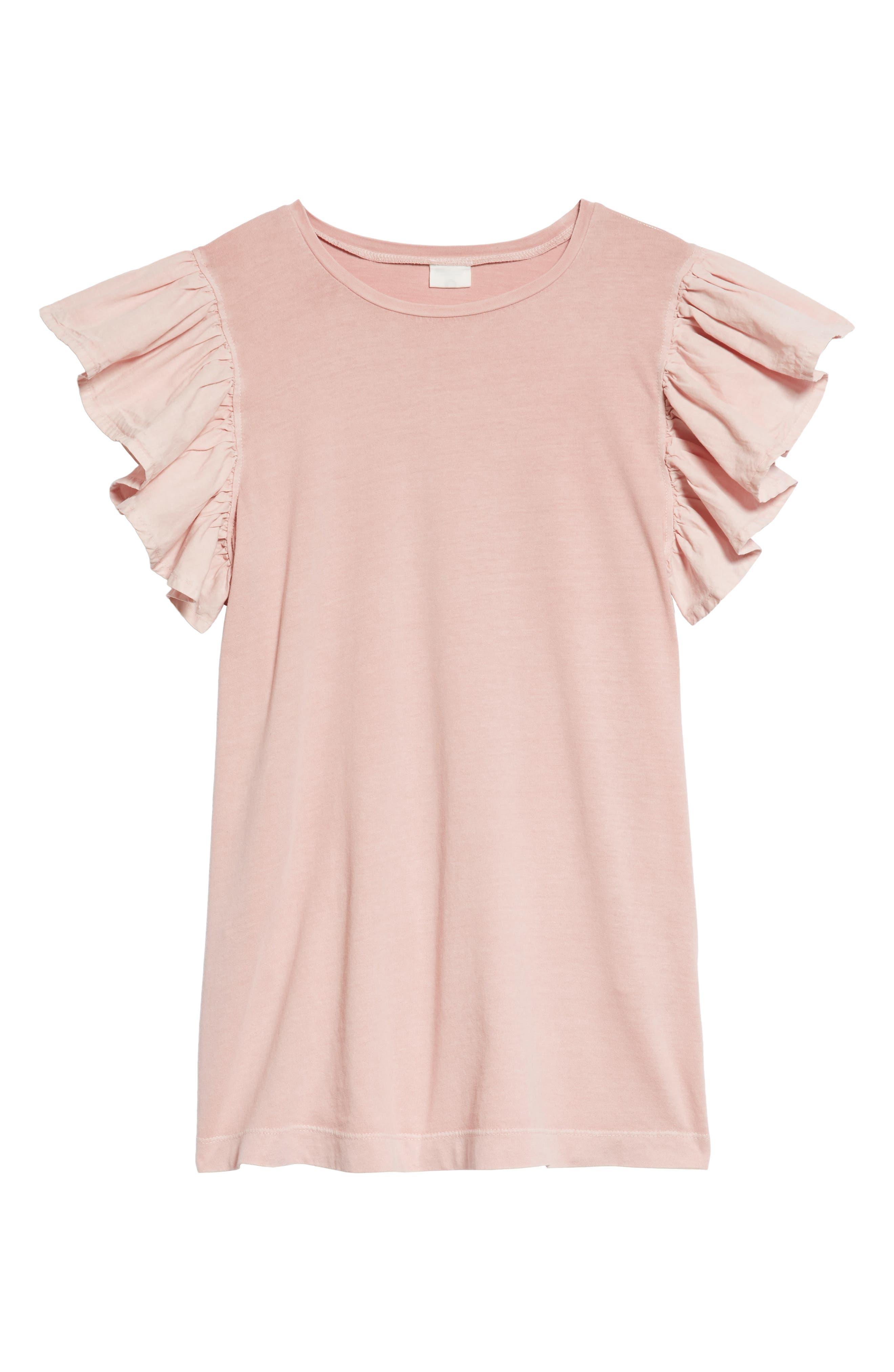 Main Image - Stem Ruffle Sleeve Dress (Toddler Girls, Little Girls & Big Girls)
