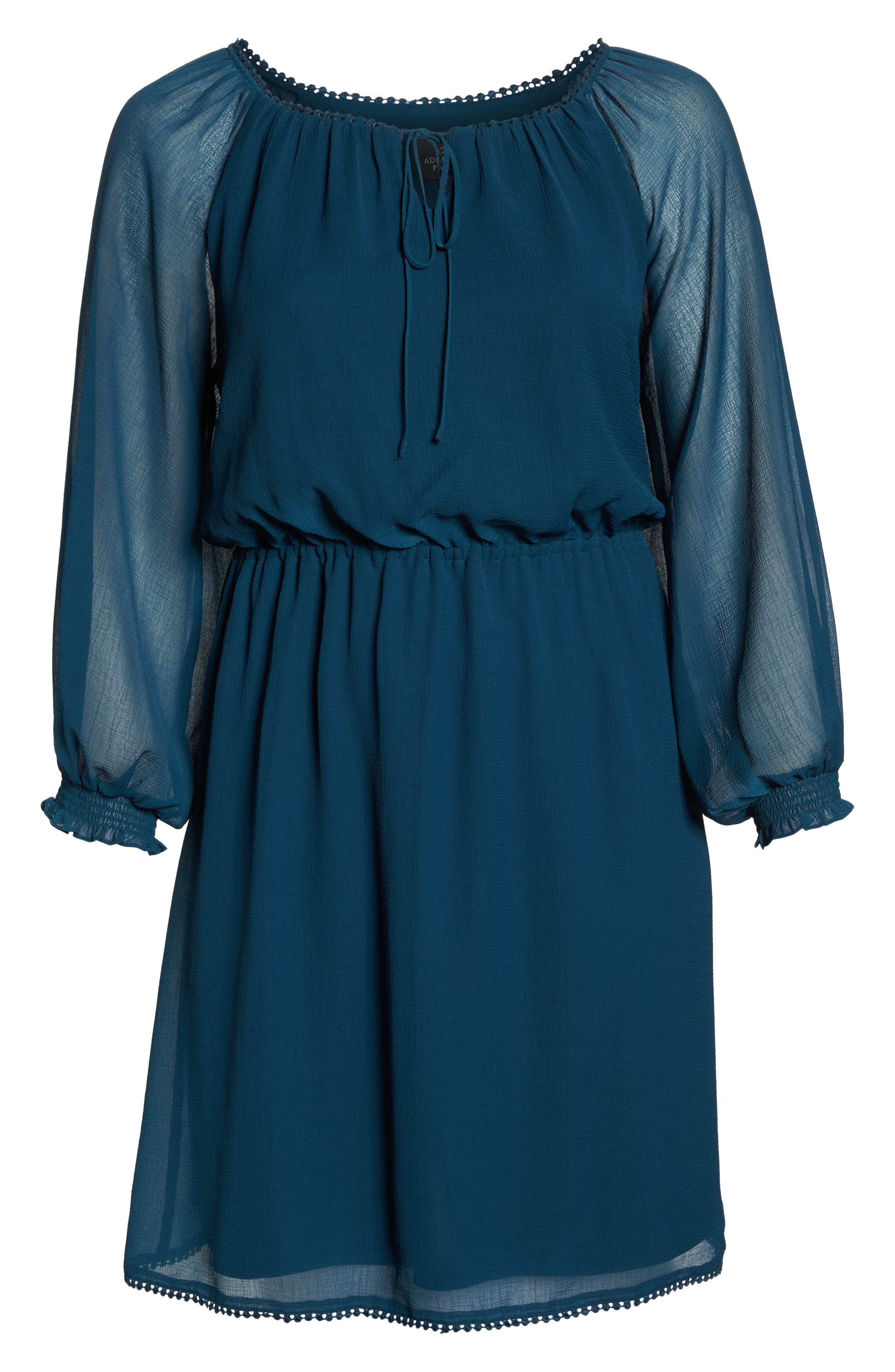 Bishop Sleeve Blouson Dress,                             Alternate thumbnail 7, color,                             Midnight Jungle