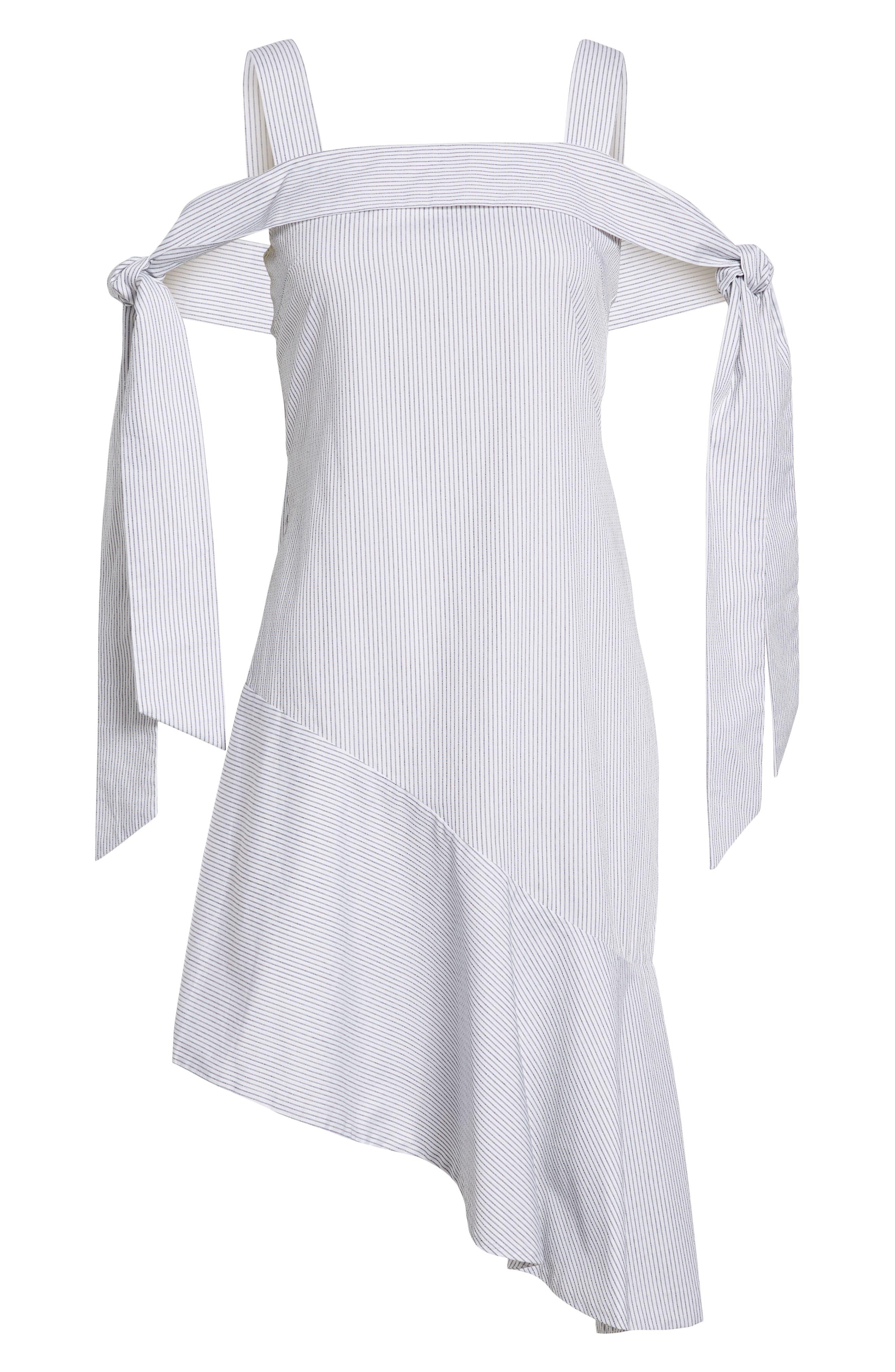 Tone Cold Shoulder Dress,                             Alternate thumbnail 7, color,                             Stripe