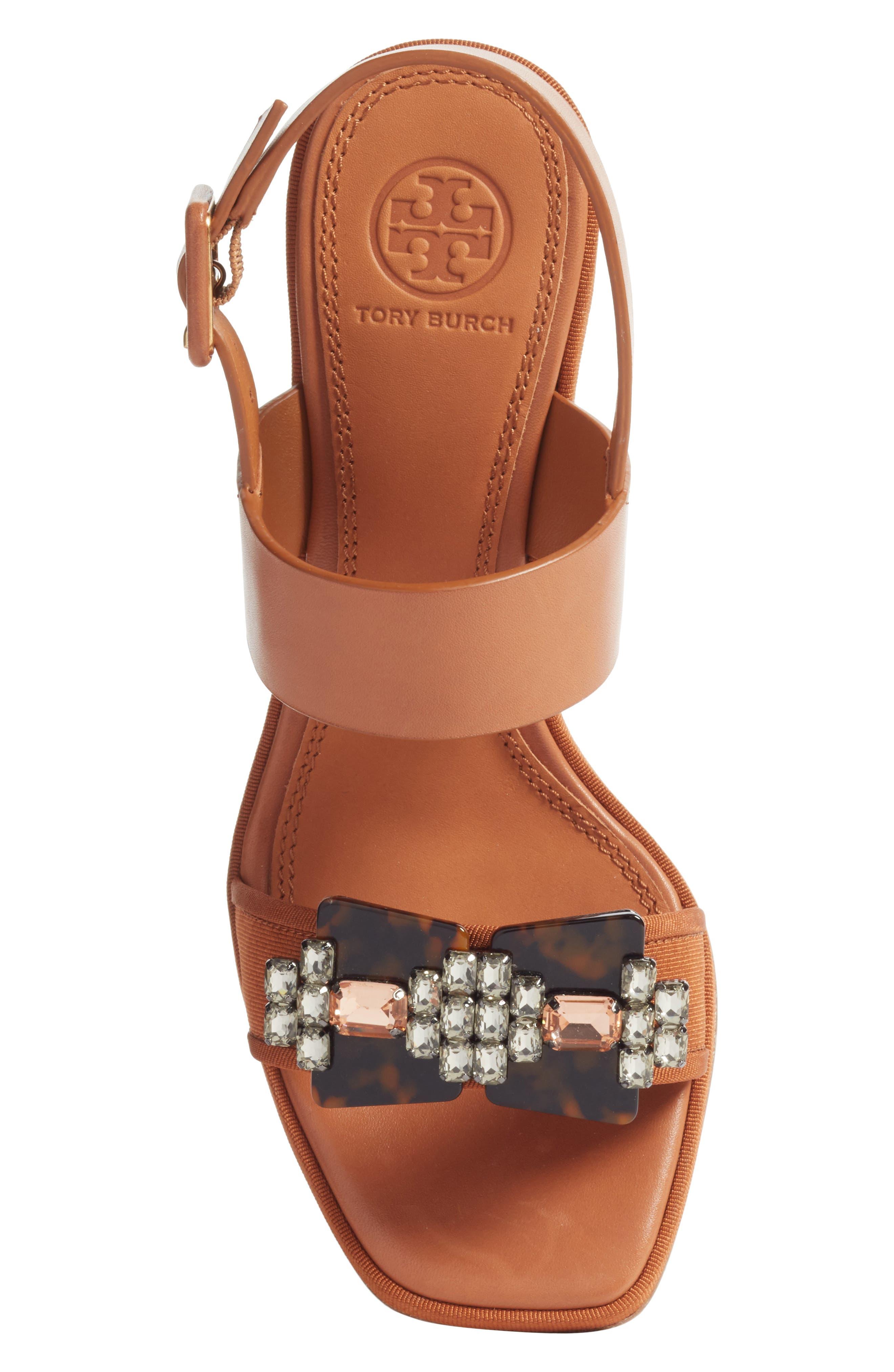 Delaney Embellished Double Strap Sandal,                             Alternate thumbnail 5, color,                             Tan/ Tan