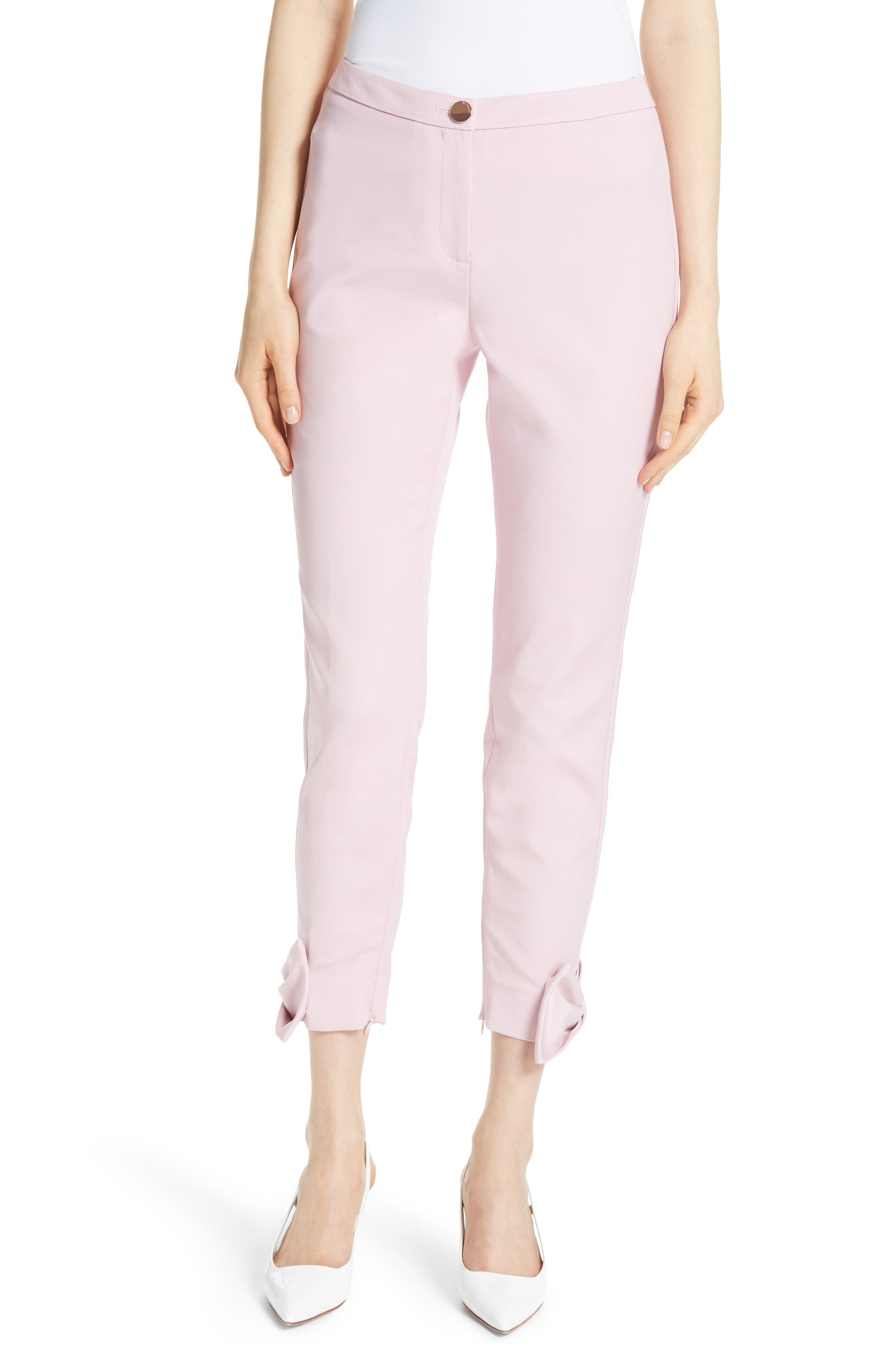 Toplyt Bow Cuff Ankle Pants,                         Main,                         color, Lilac