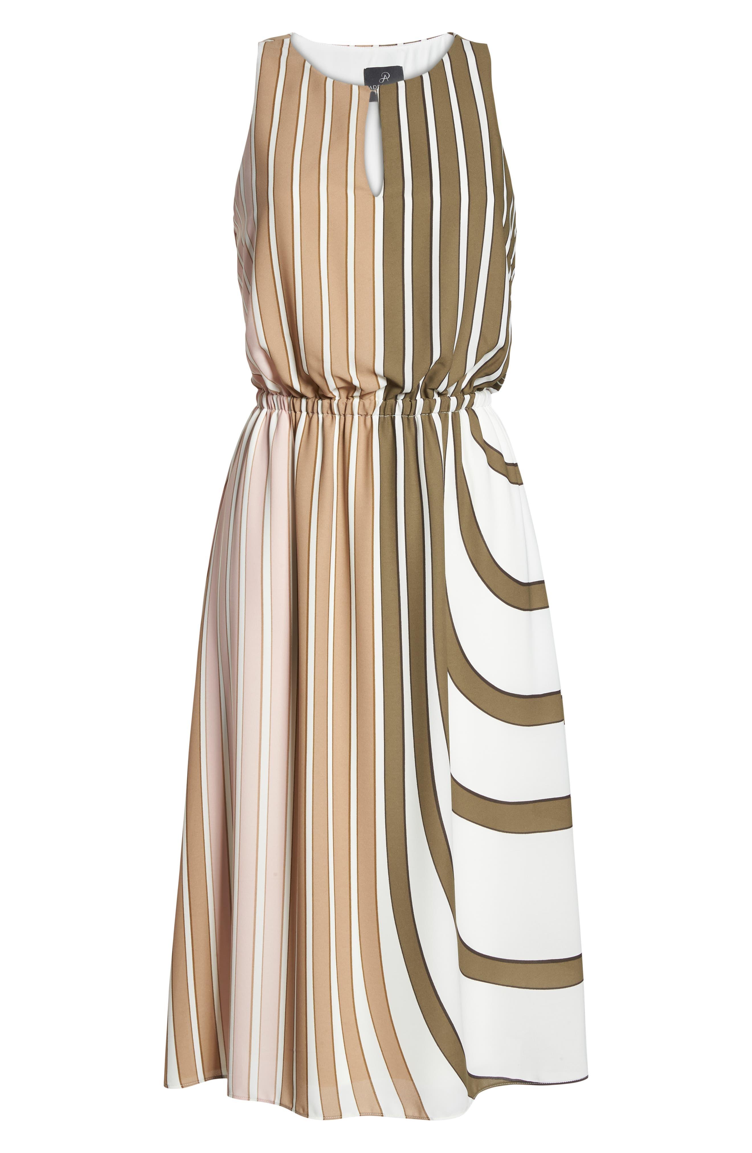 Blouson Midi Dress,                             Alternate thumbnail 7, color,                             Olive Multi