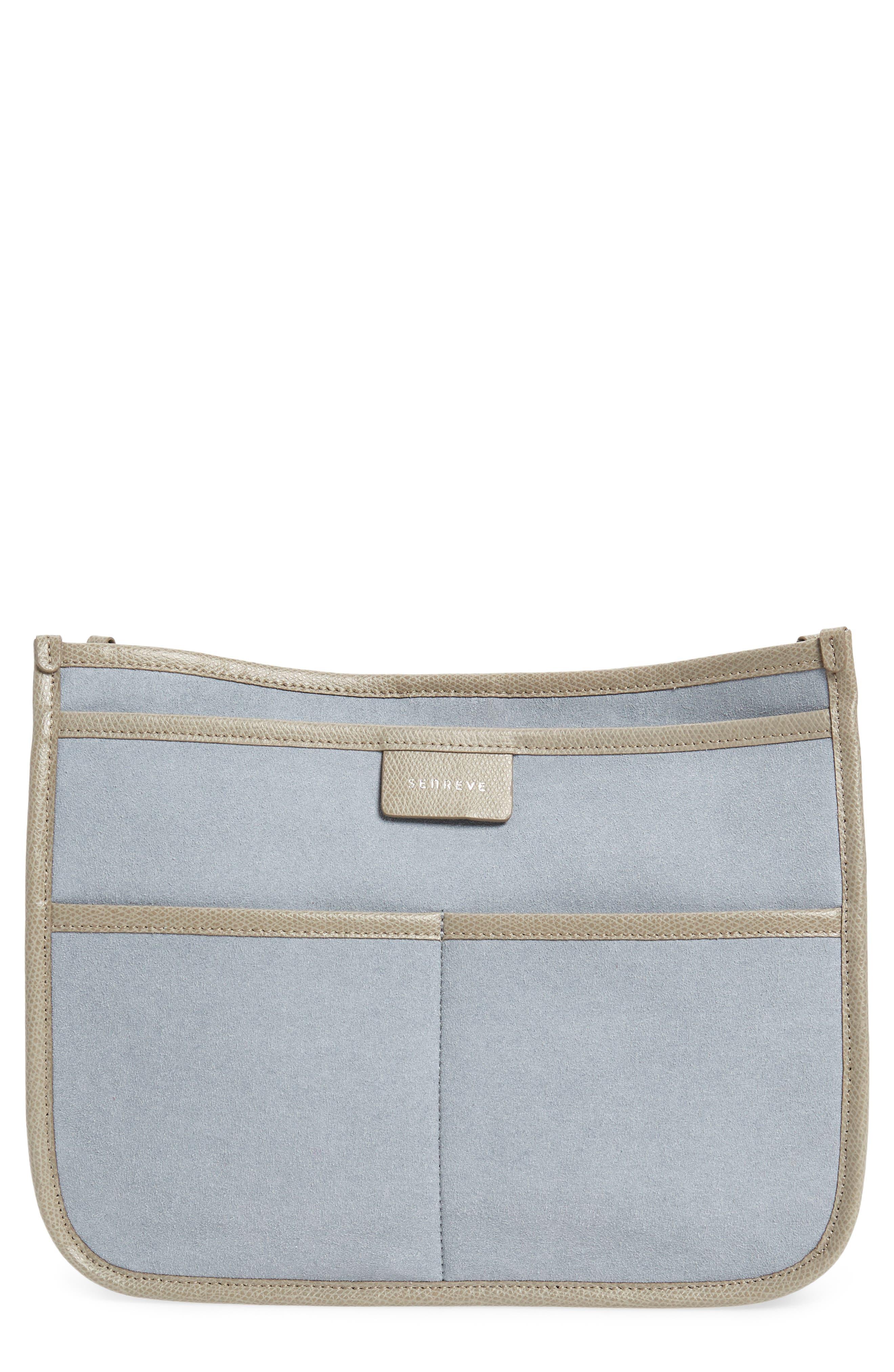 Caddy Microsuede Handbag Organizer,                             Main thumbnail 1, color,                             Sand