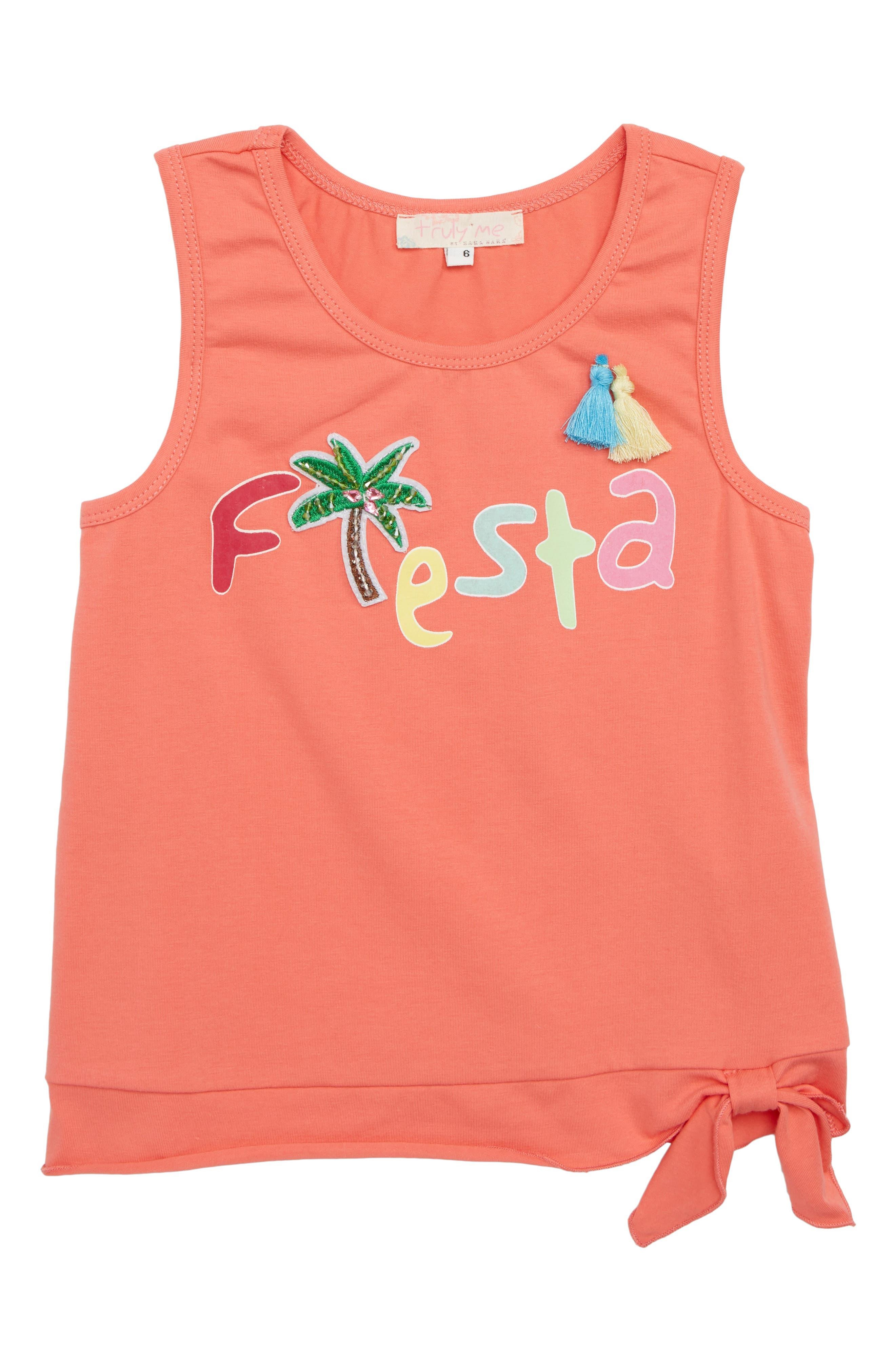 Fiesta Side Tie Tank,                         Main,                         color, Orange