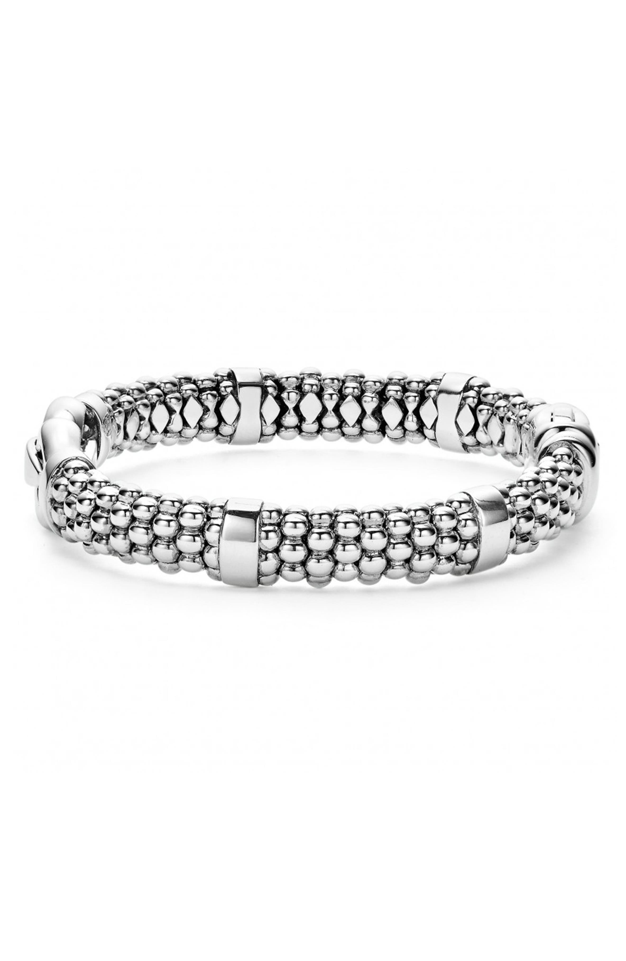 'Derby' Caviar Rope Bracelet,                             Alternate thumbnail 3, color,                             Sterling Silver