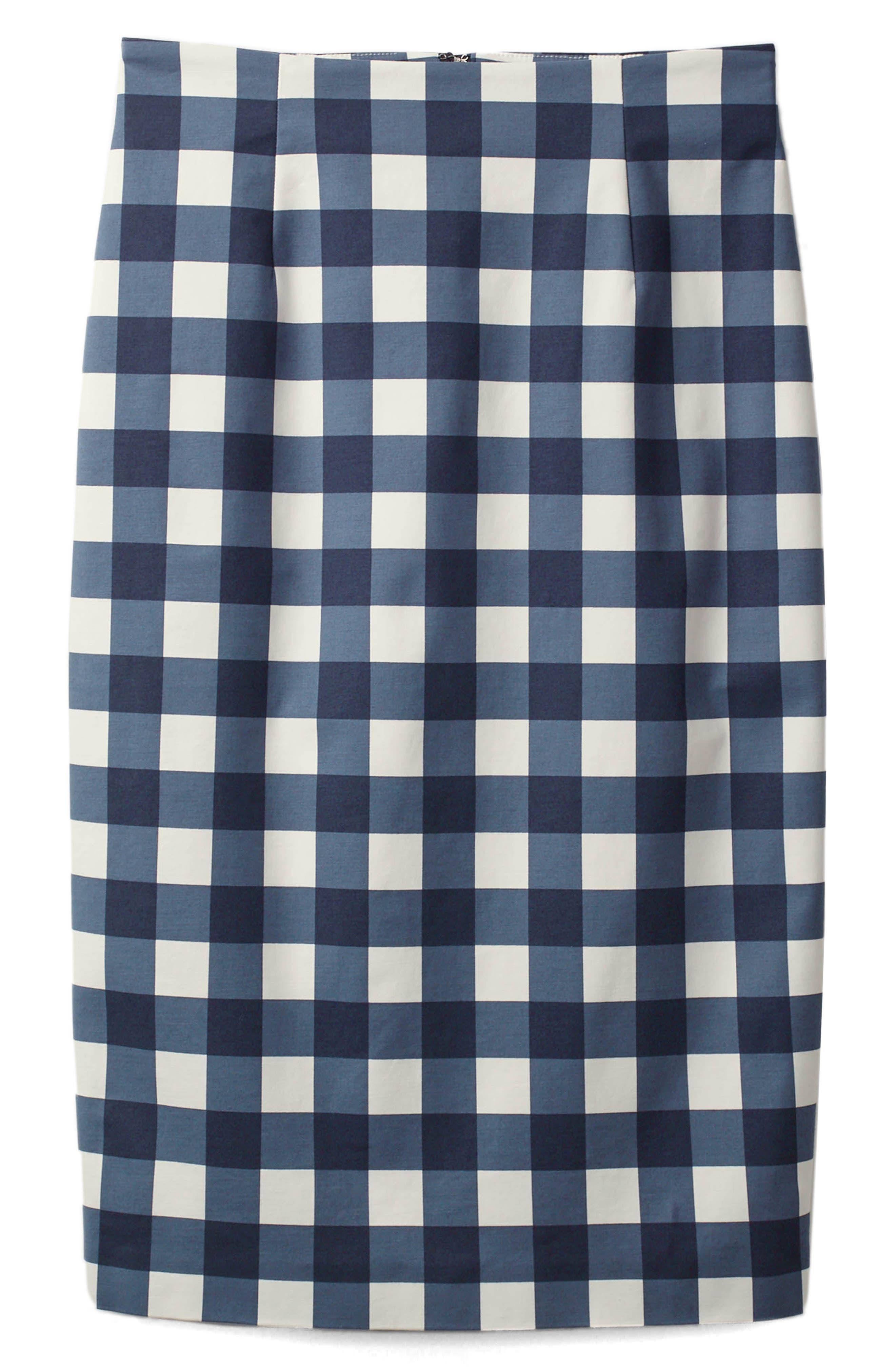Richmond Print Skirt,                         Main,                         color, Navy Gingham