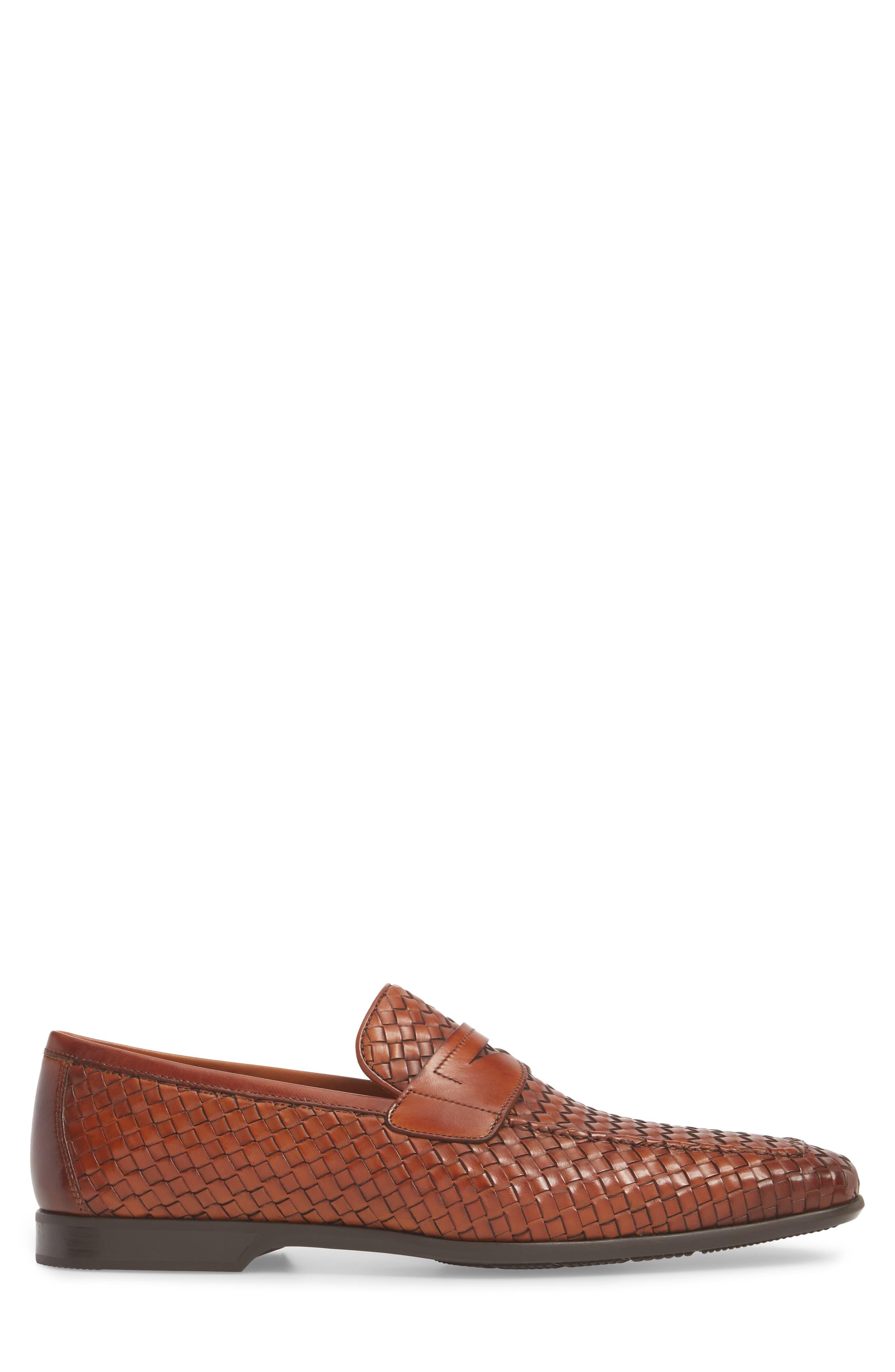 Rafa II Woven Penny Loafer,                             Alternate thumbnail 3, color,                             Cognac Leather