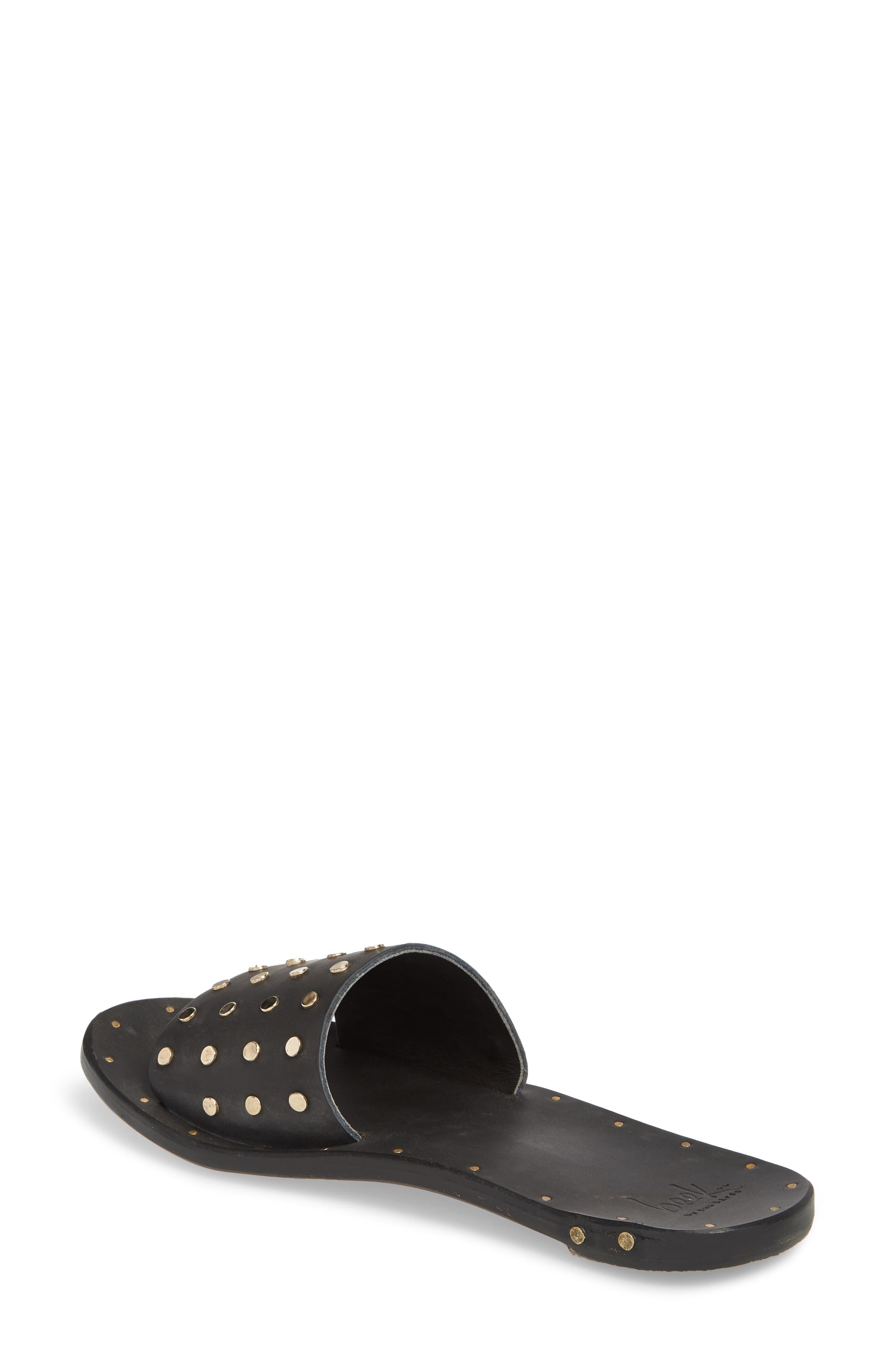 Lovebird Studded Slide Sandal,                             Alternate thumbnail 2, color,                             Black/ Black