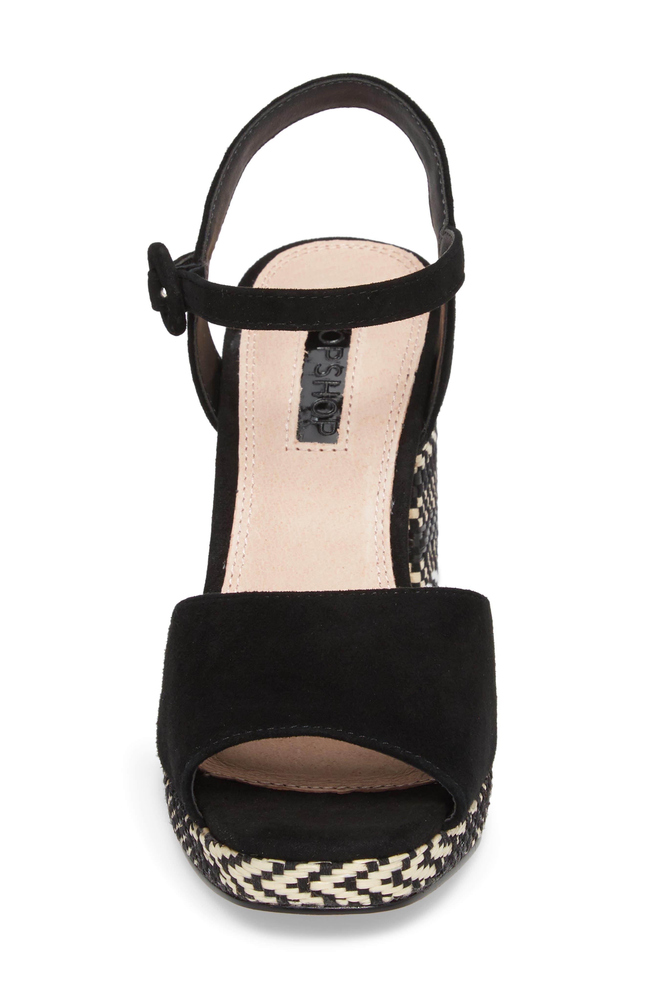 Laura Woven Block Heel Sandal,                             Alternate thumbnail 4, color,                             Black Multi