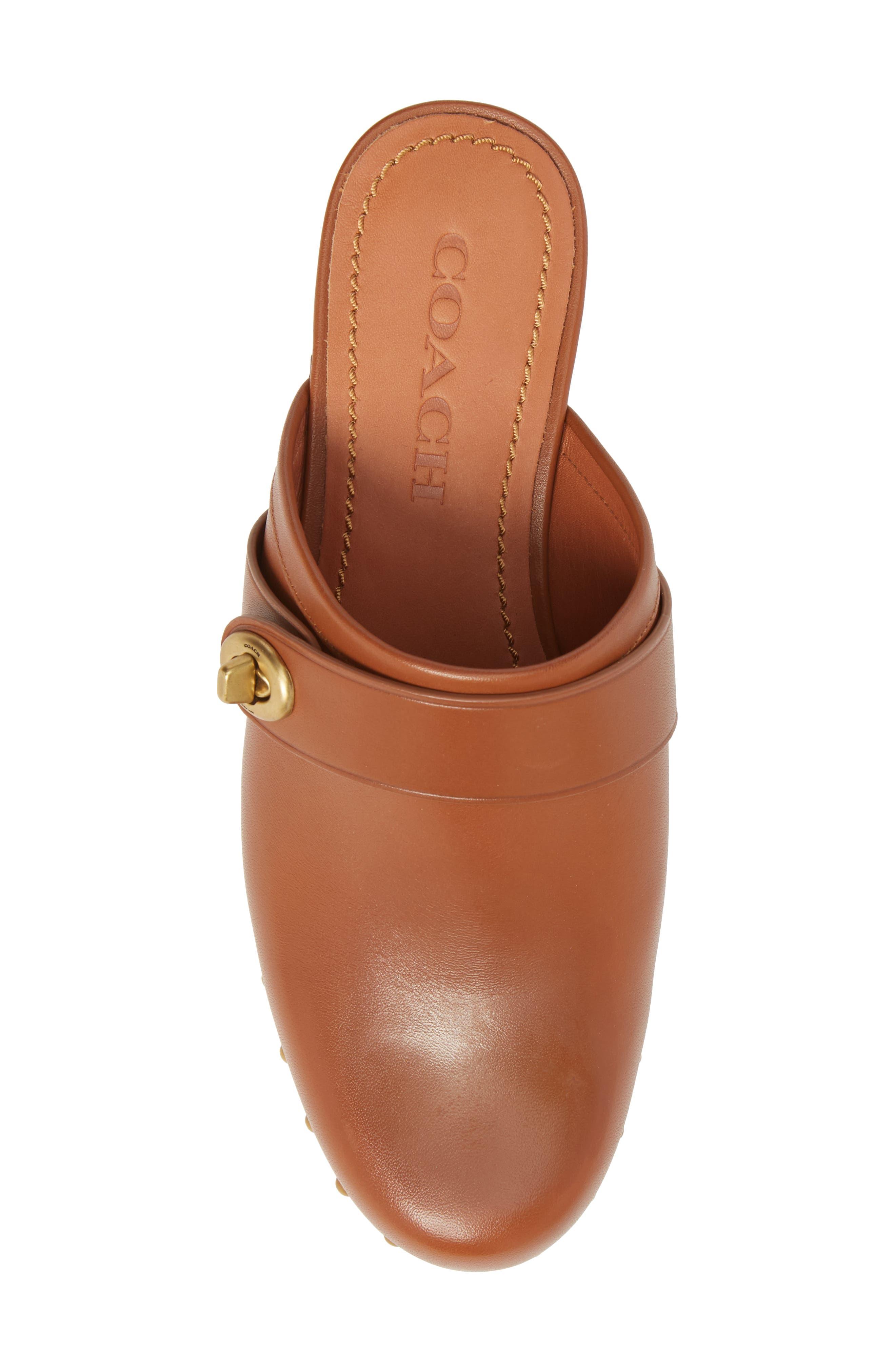 Turnlock Clog,                             Alternate thumbnail 5, color,                             Saddle Leather