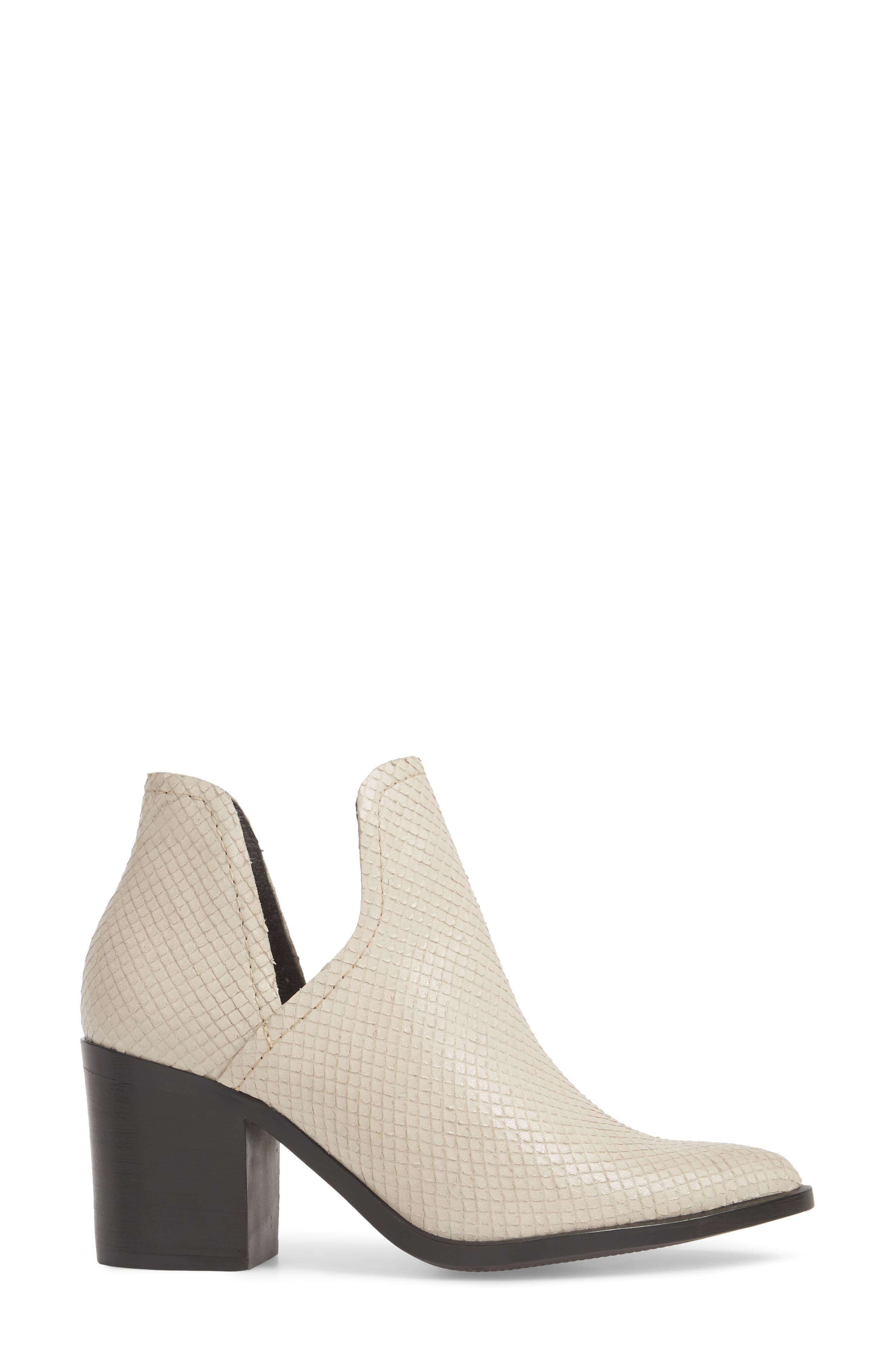 Petra Open Side Bootie,                             Alternate thumbnail 3, color,                             White Snake Print