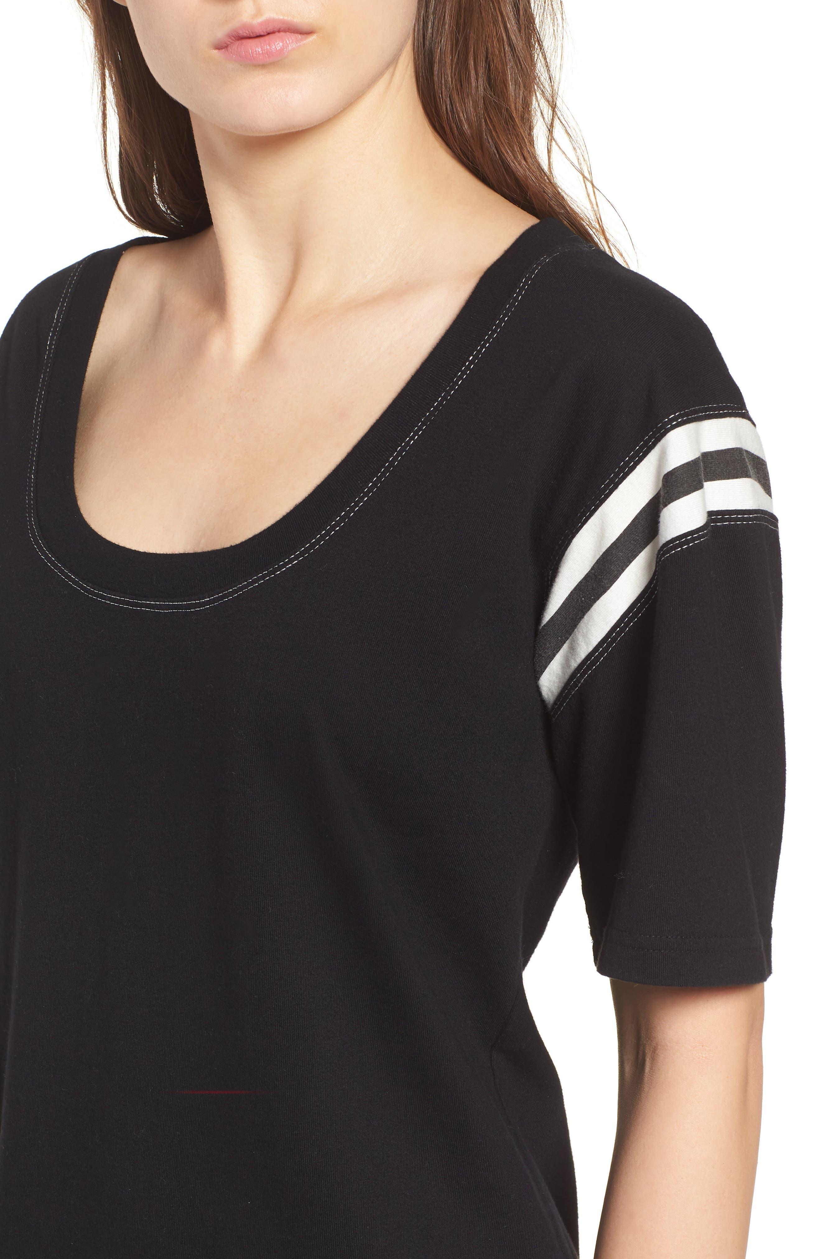 Football Stripe Dress,                             Alternate thumbnail 4, color,                             Black