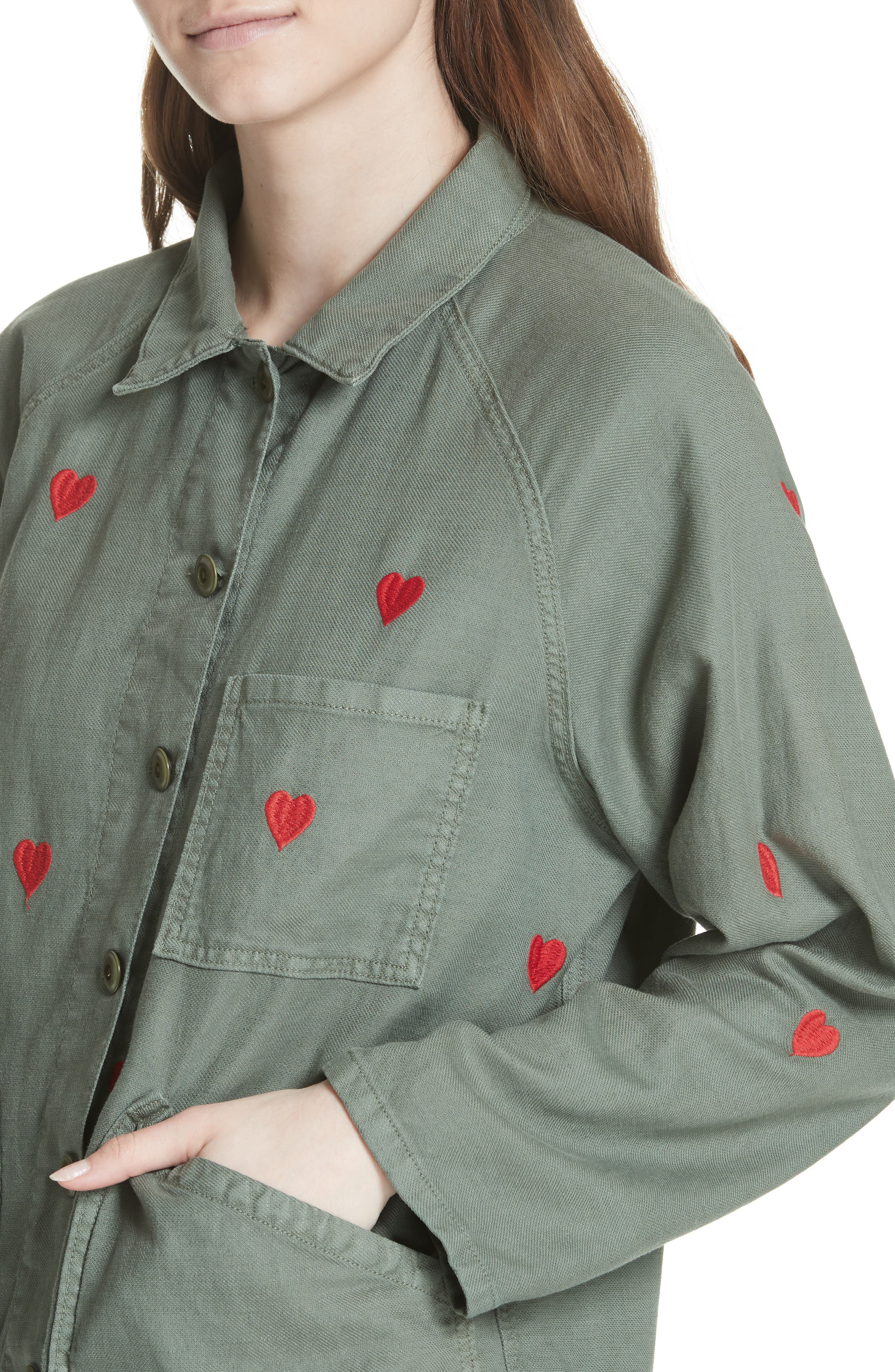 The Field Jacket,                             Alternate thumbnail 4, color,                             Moss Army/ Red Hearts