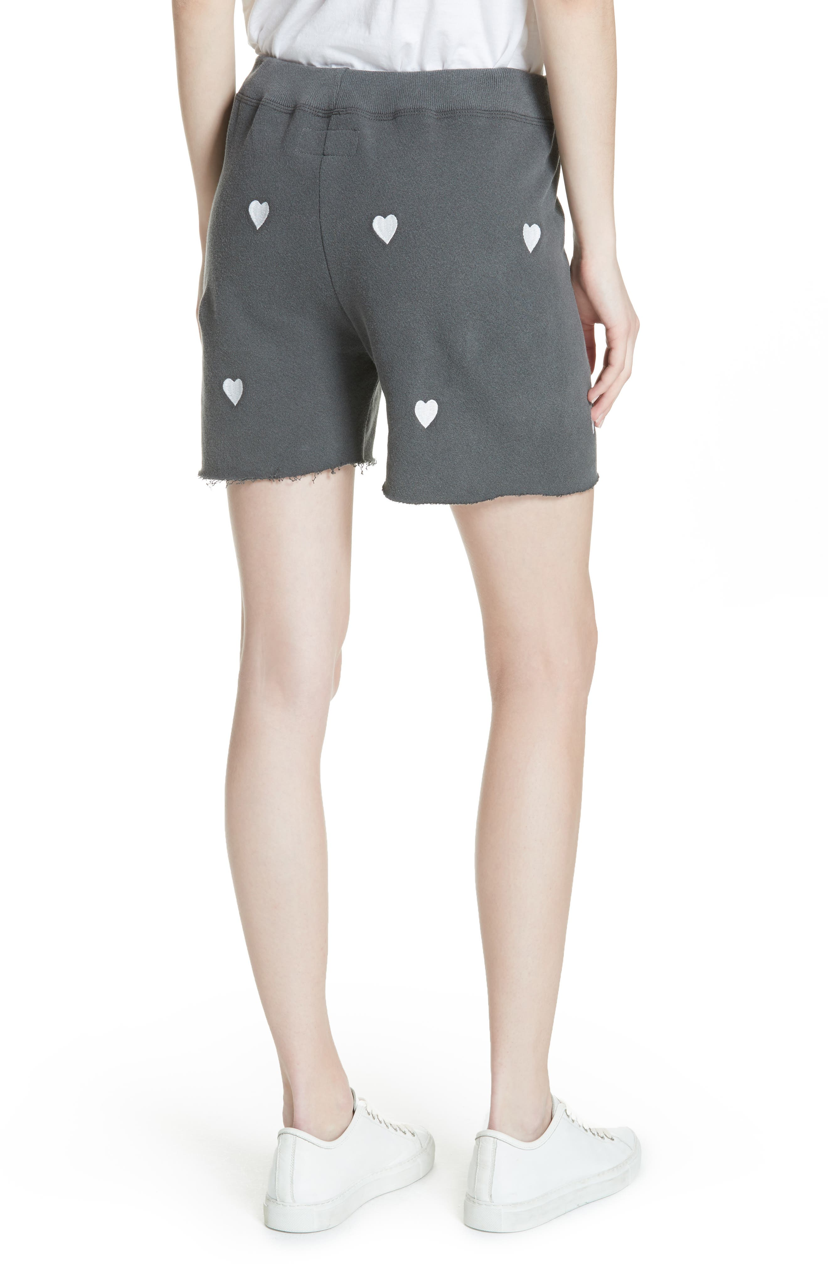 The Sweat Shorts,                             Alternate thumbnail 2, color,                             Washed Black/ White Hearts