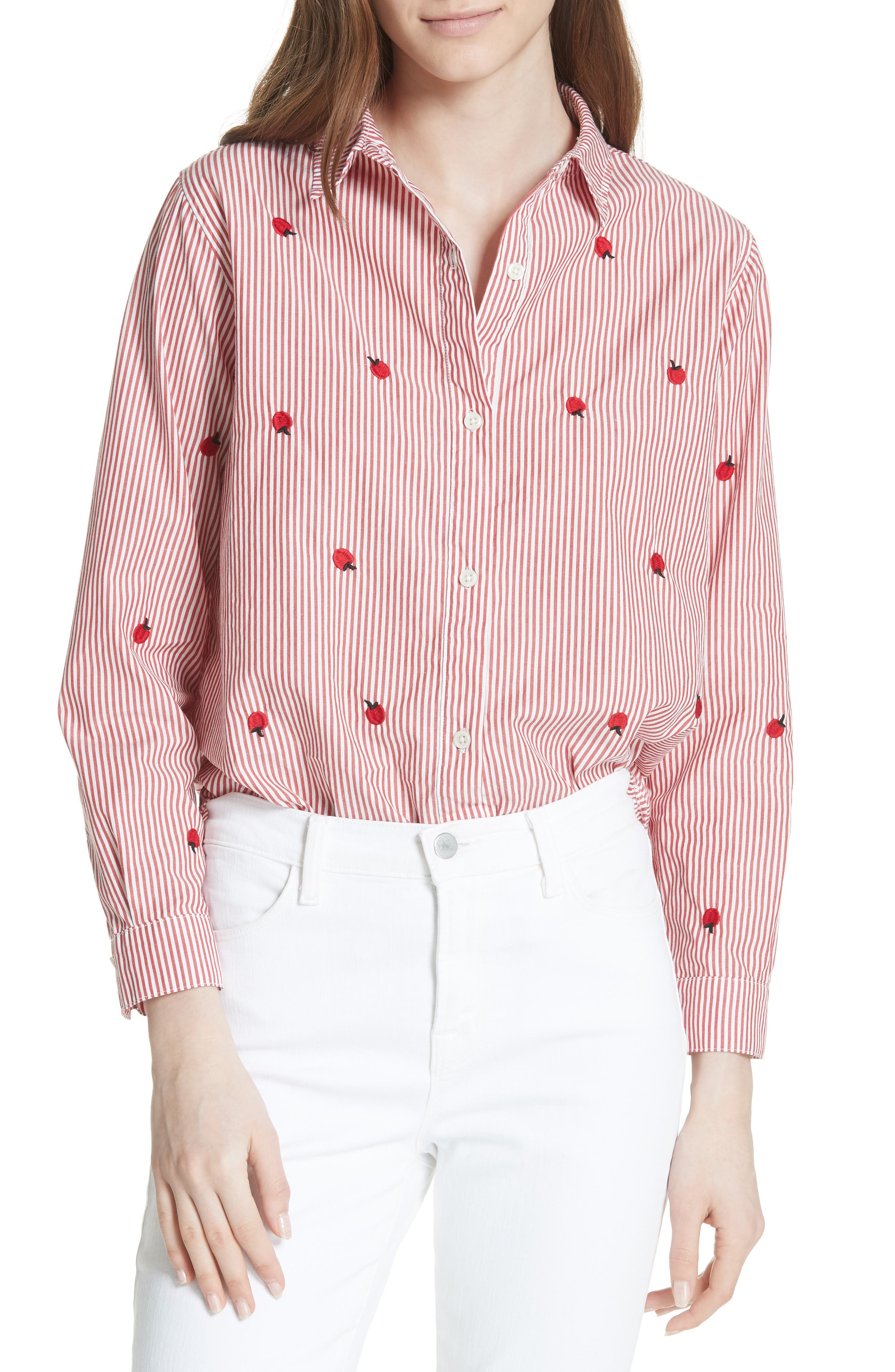 The Campus Shirt,                             Main thumbnail 1, color,                             Poppy Stripe/ Apple Embroidery