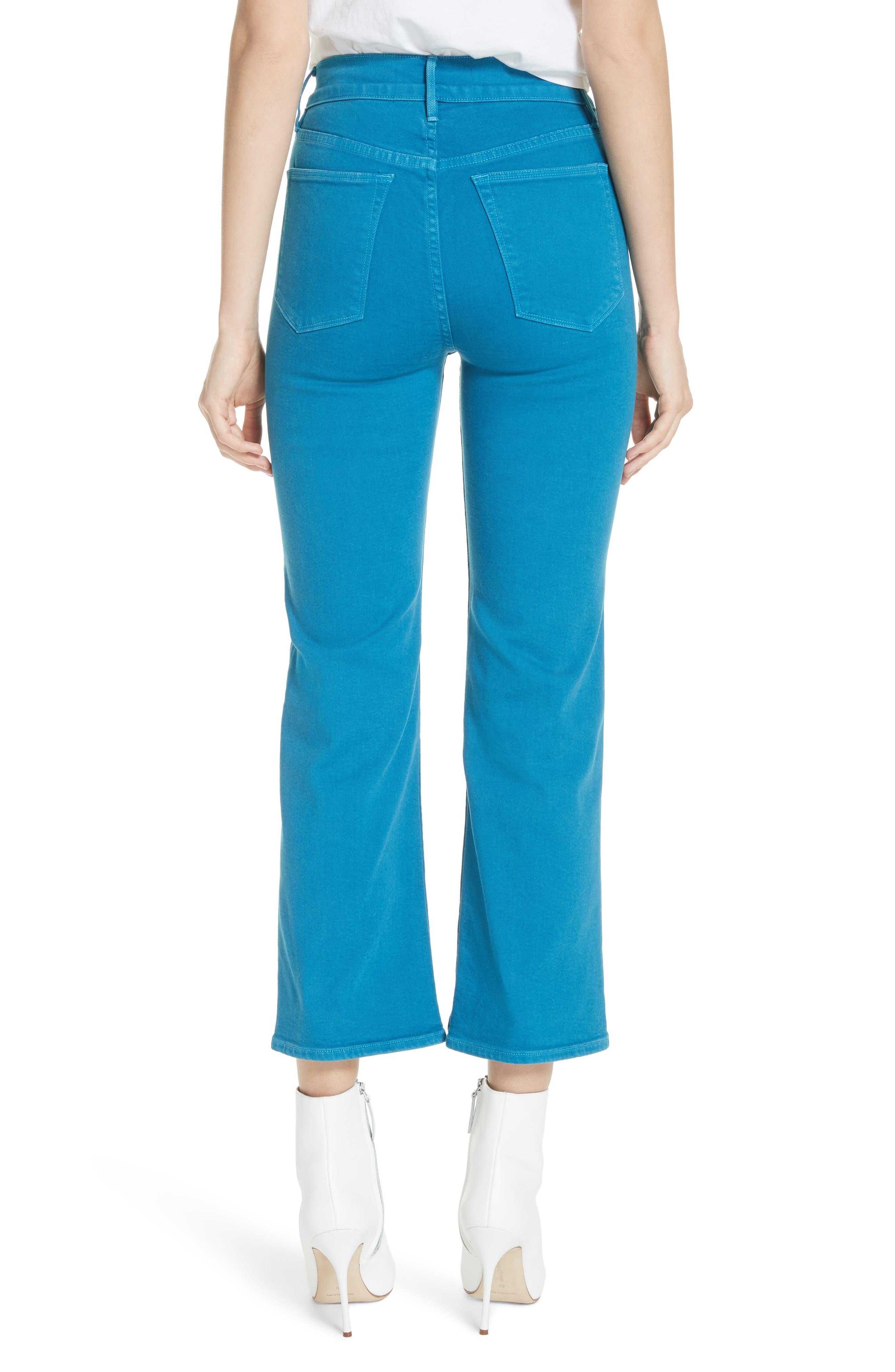 W4 Shelter Wide Leg Crop Jeans,                             Alternate thumbnail 2, color,                             Peacock Blue