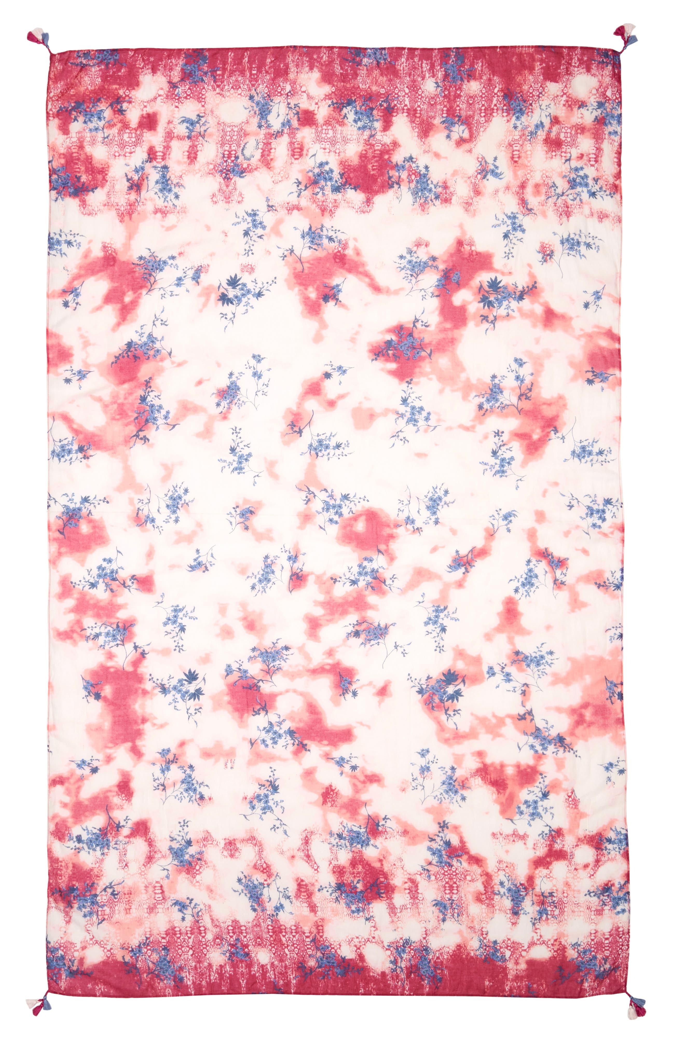 Print Tassel Scarf,                             Alternate thumbnail 2, color,                             Pink Inky Floral Dyewash
