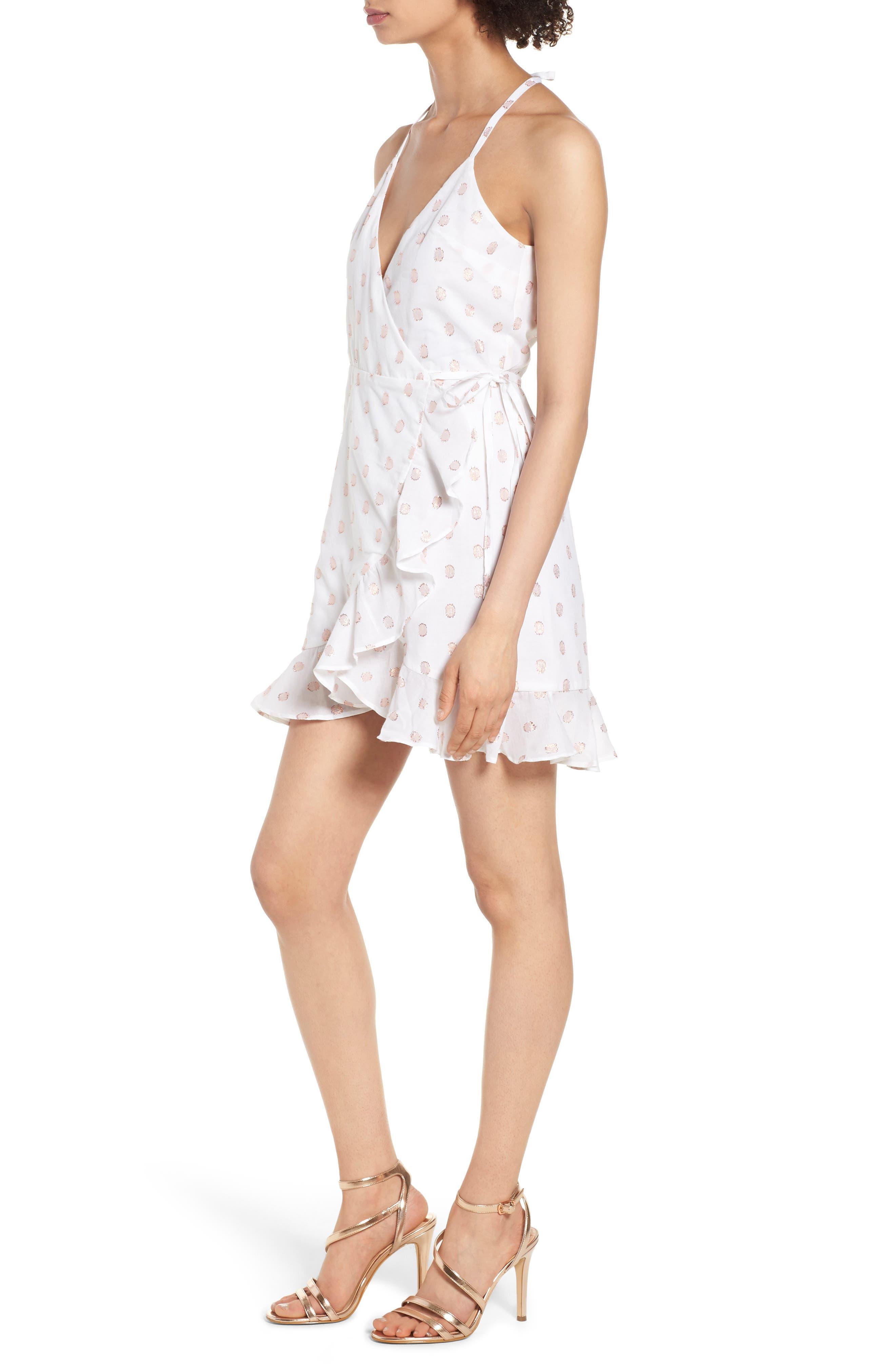 Gigi Wrap Dress,                             Alternate thumbnail 3, color,                             Rose Gold