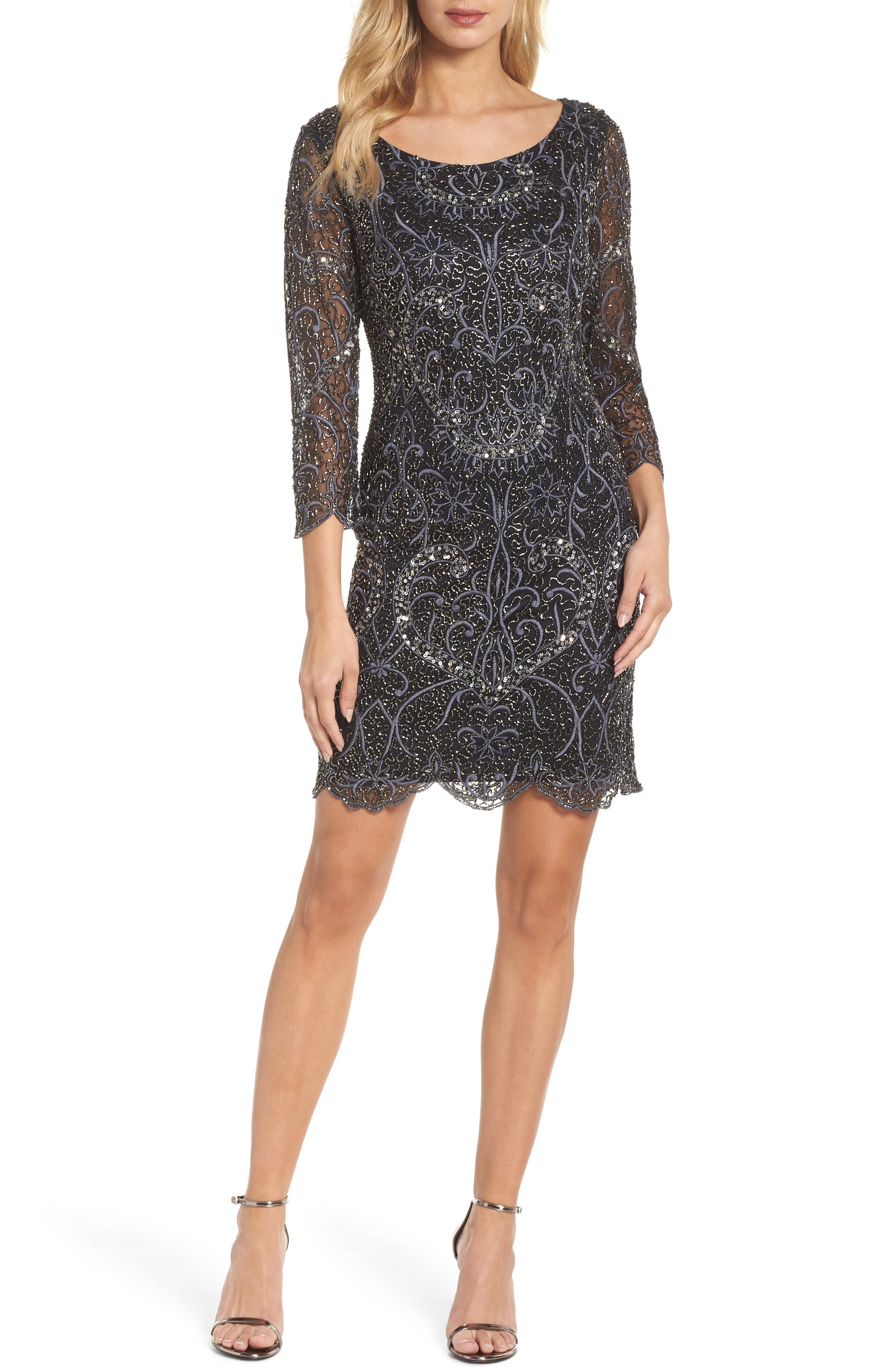 Embroidered Cocktail Dress,                             Main thumbnail 1, color,                             Black